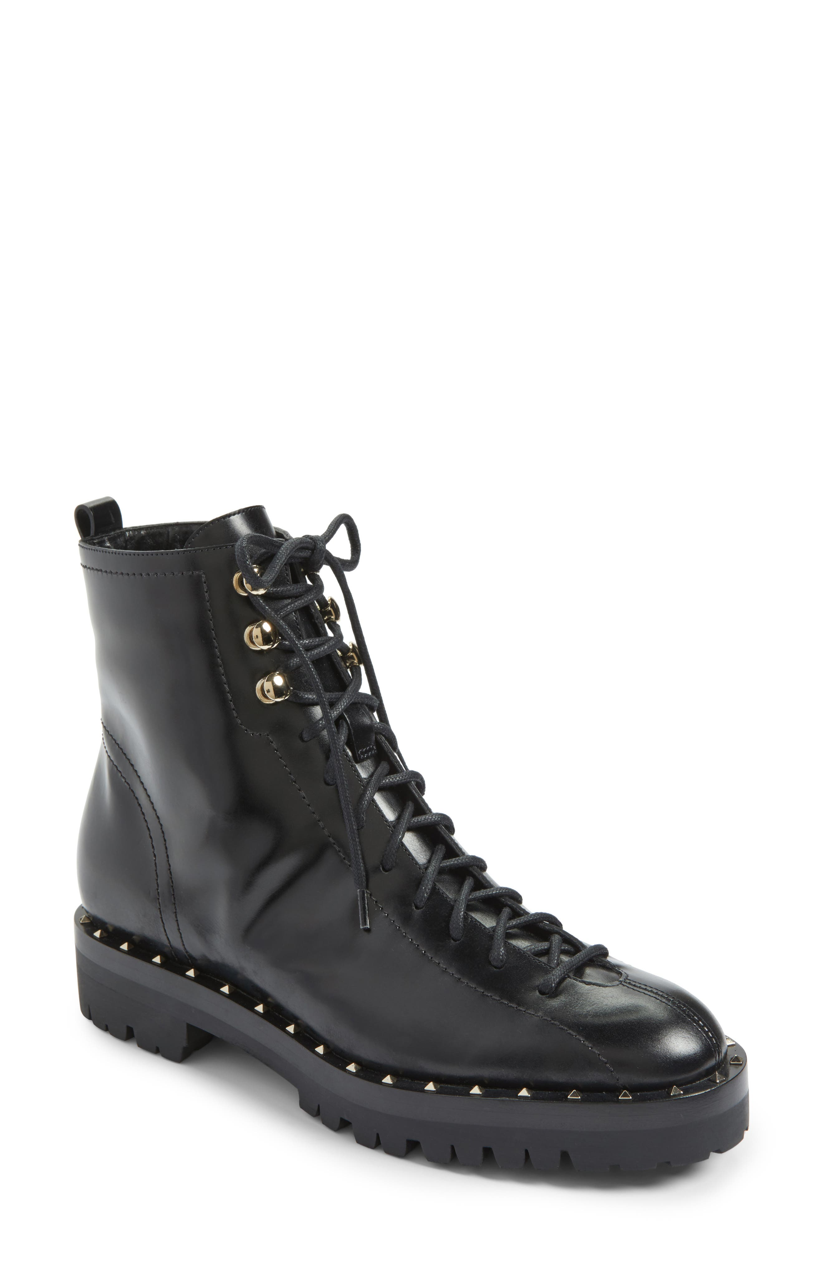 Rockstud Combat Boot,                         Main,                         color, Black Leather