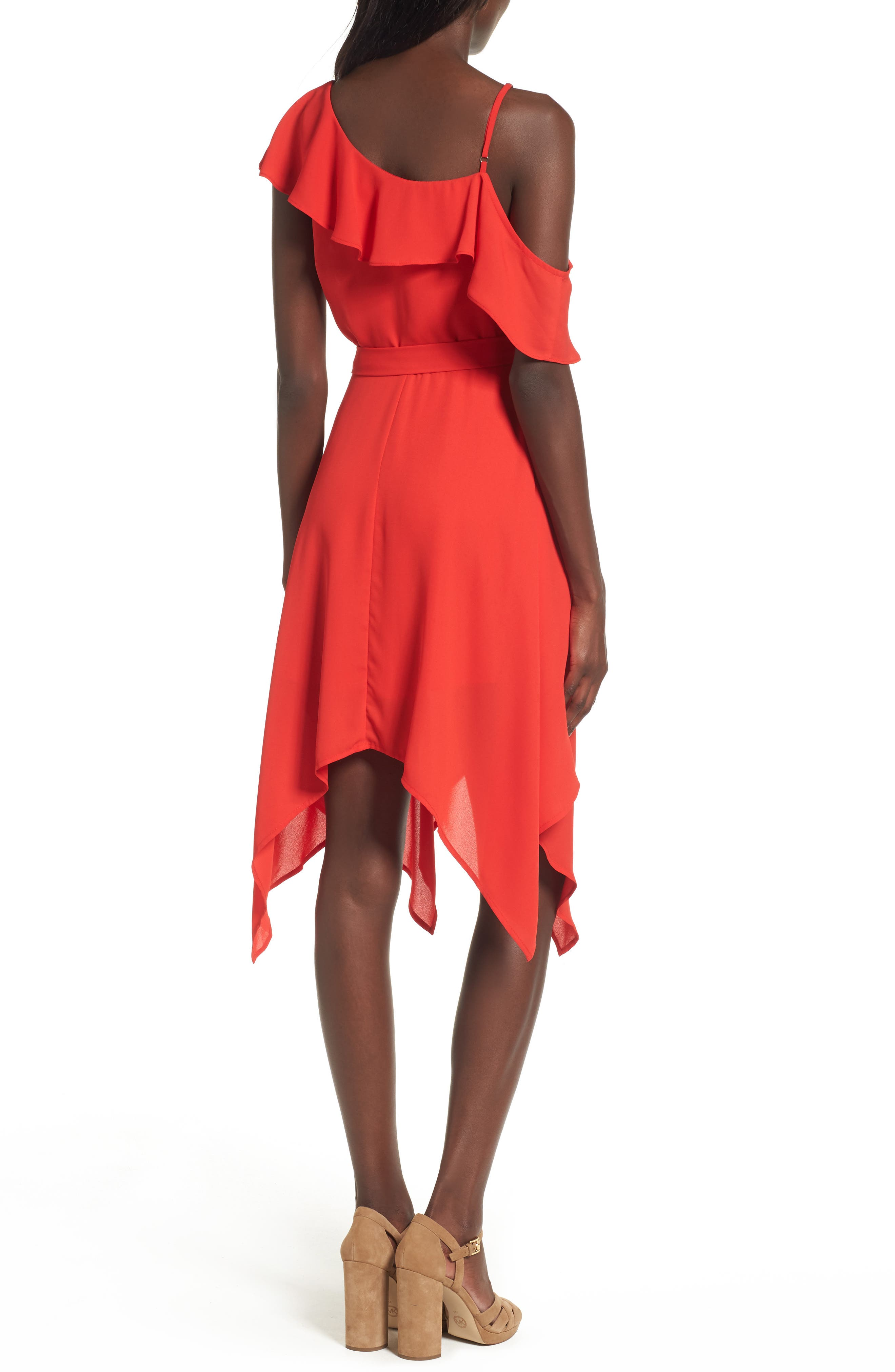 Asymmetrical Ruffle Dress,                             Alternate thumbnail 2, color,                             Red