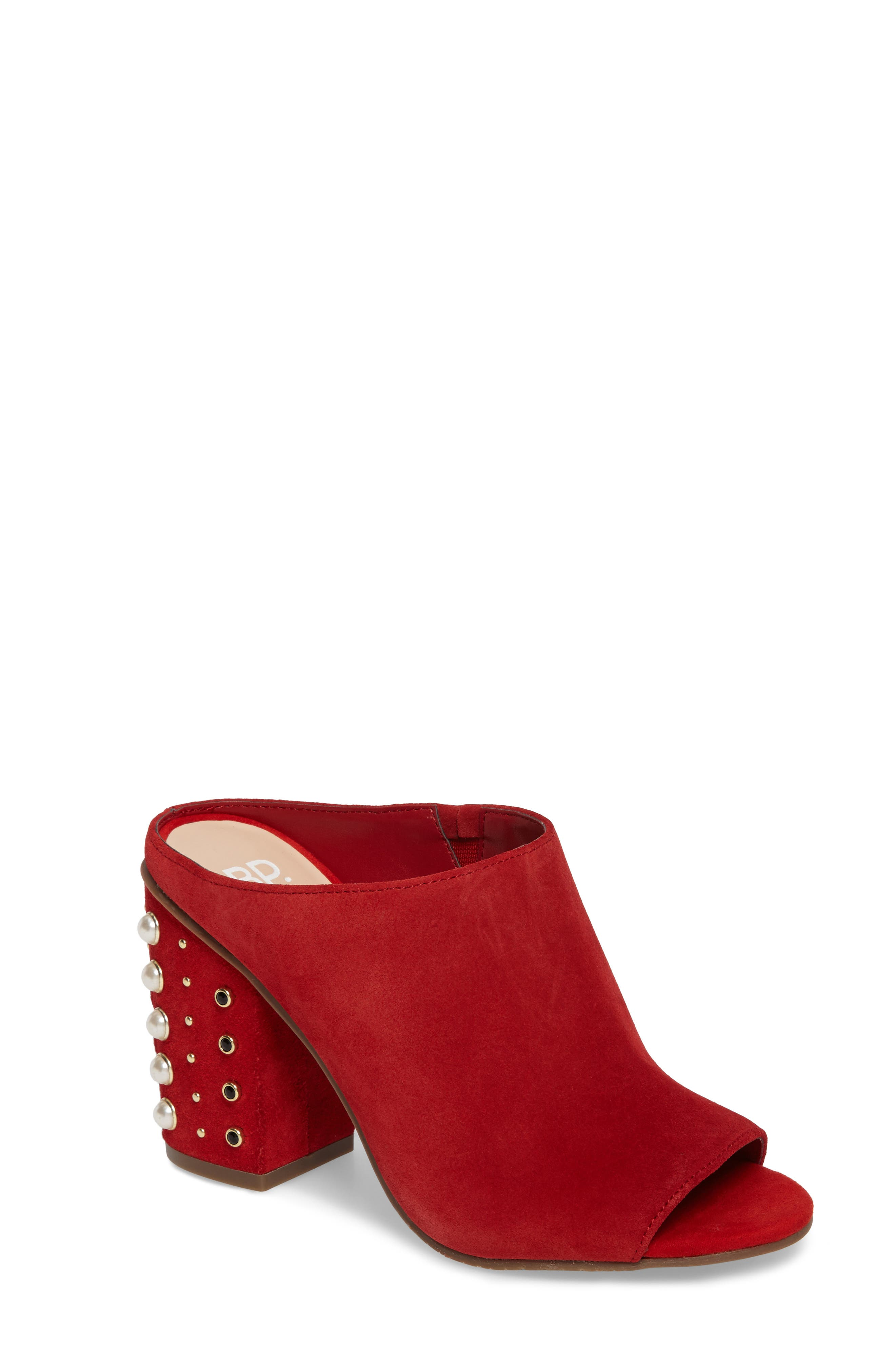 Tabitha Embellished Open Toe Mule,                             Main thumbnail 1, color,                             Red Suede