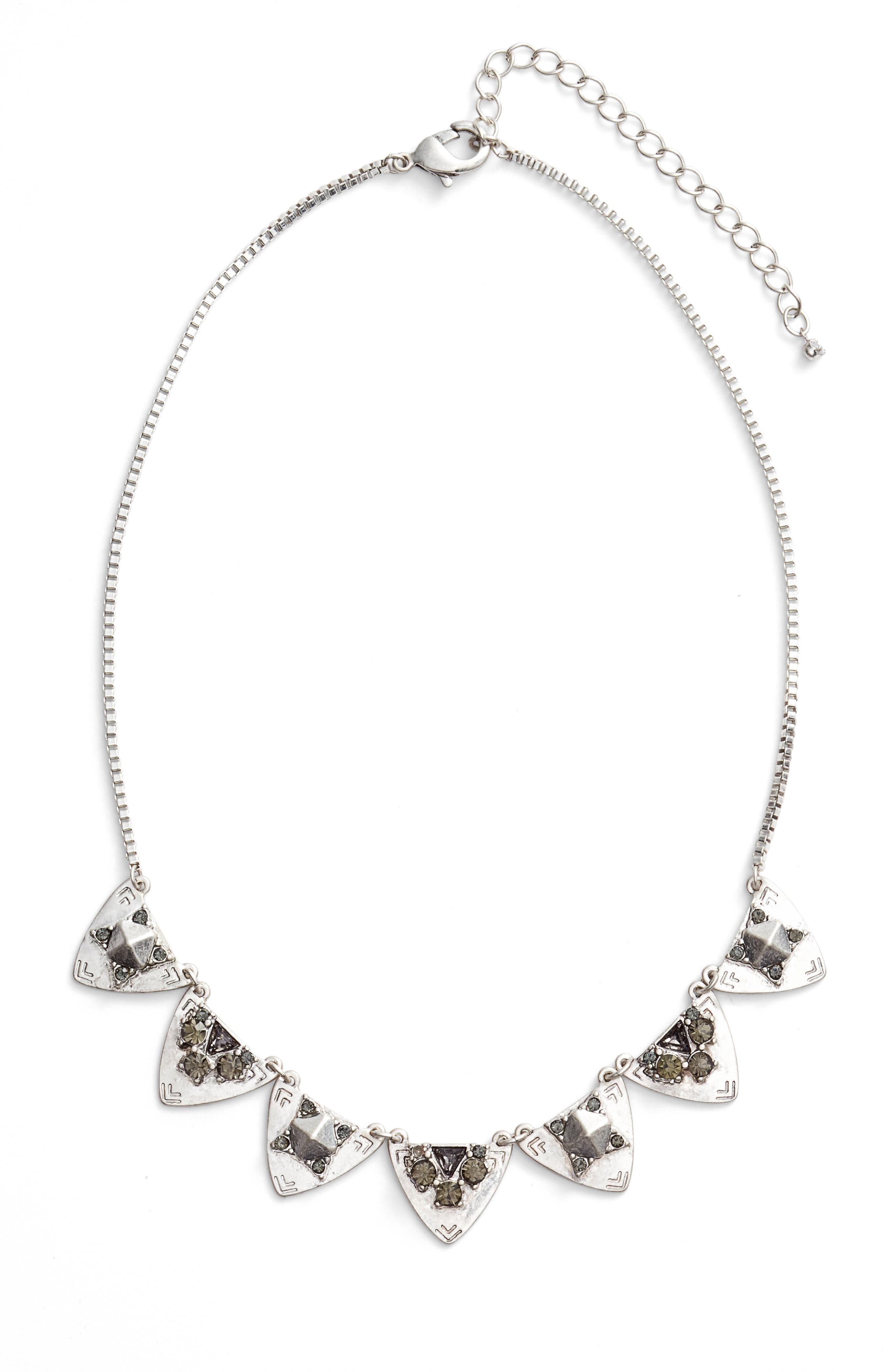 Frontal Crystal Necklace,                         Main,                         color, Black Diamond- Rhodium