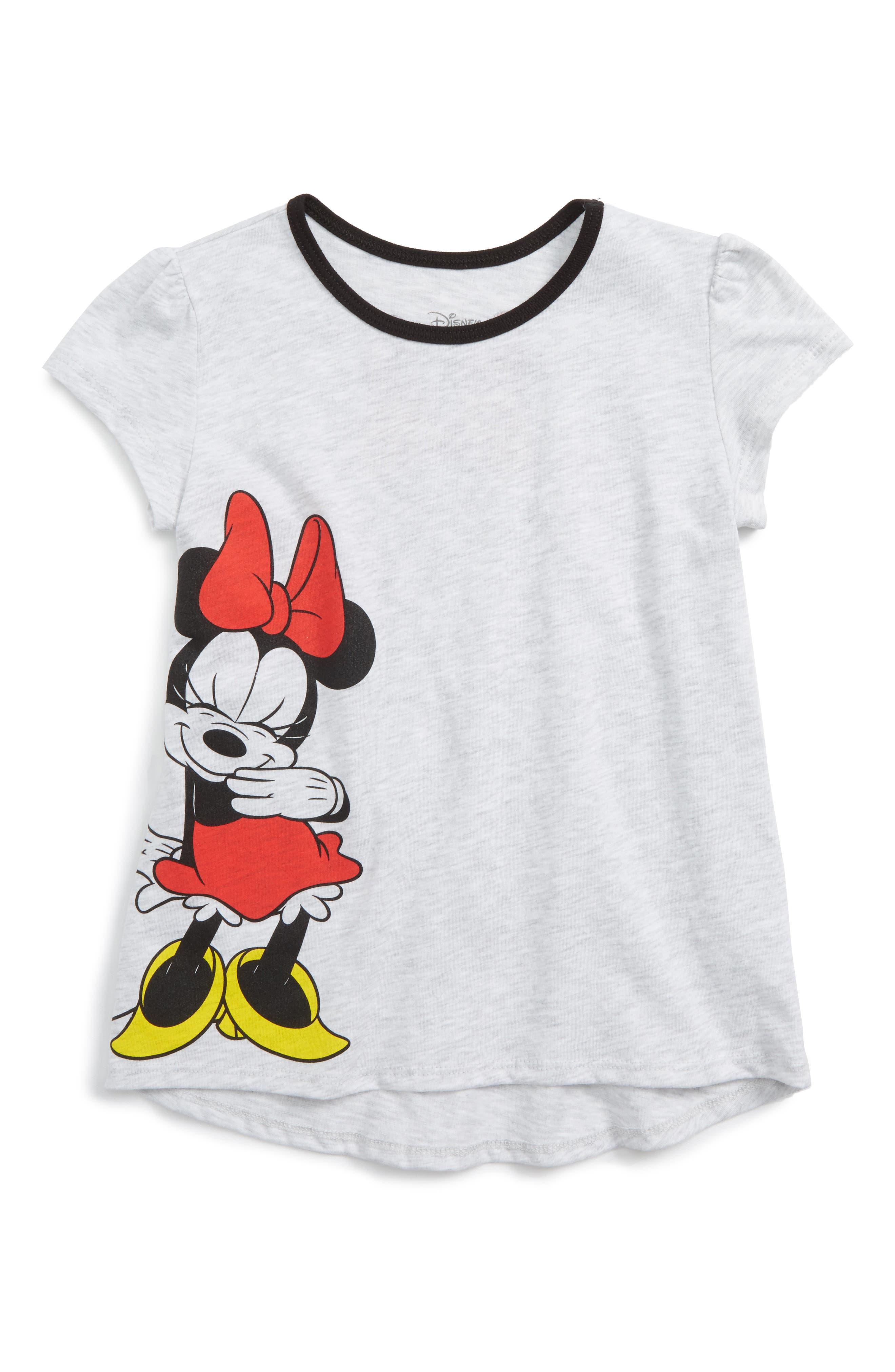 Disney - Minnie Mouse Graphic Tee,                             Main thumbnail 1, color,                             Ash Heather / Black