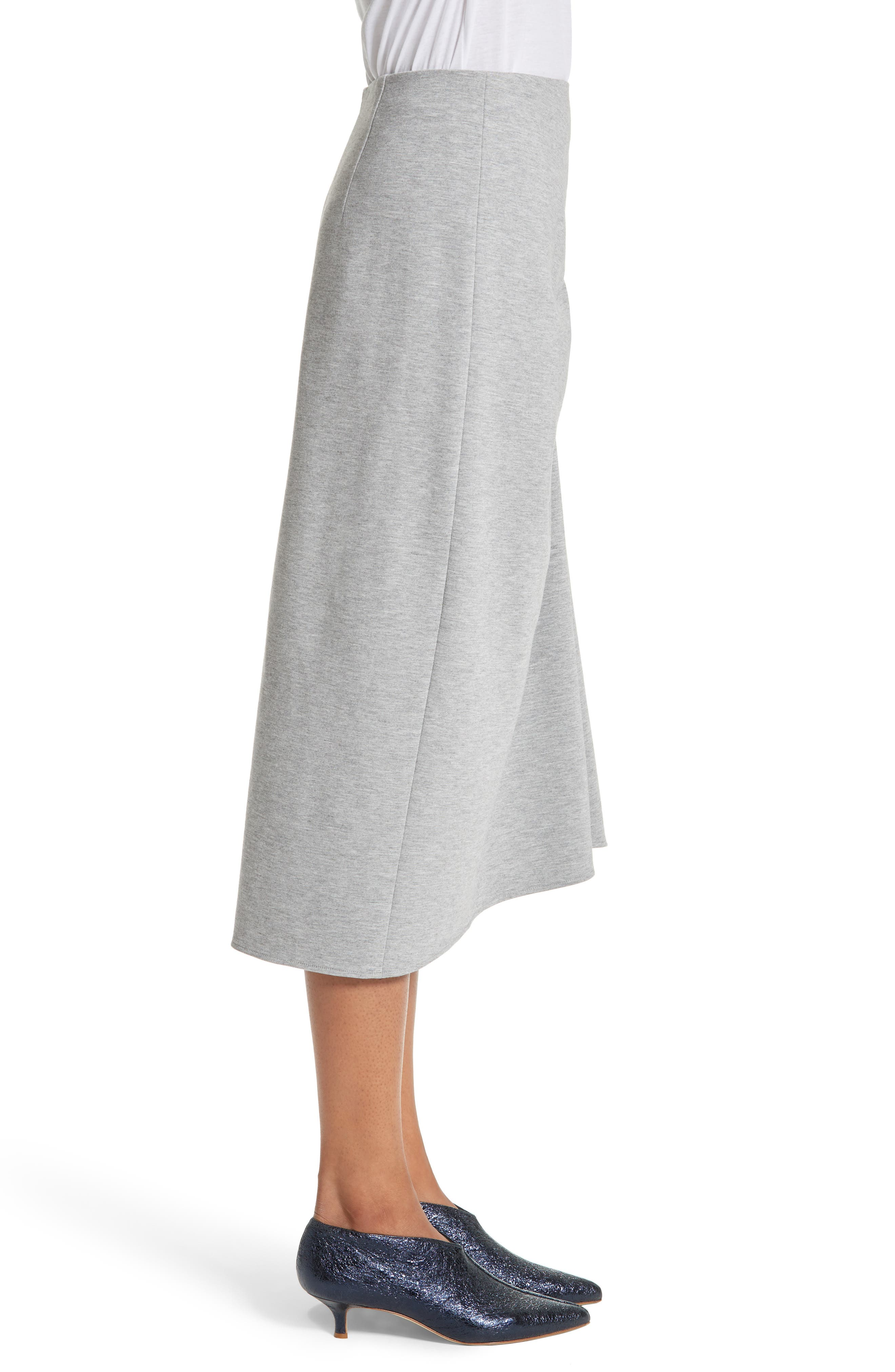 Ruched Midi Skirt,                             Alternate thumbnail 3, color,                             Heather Grey