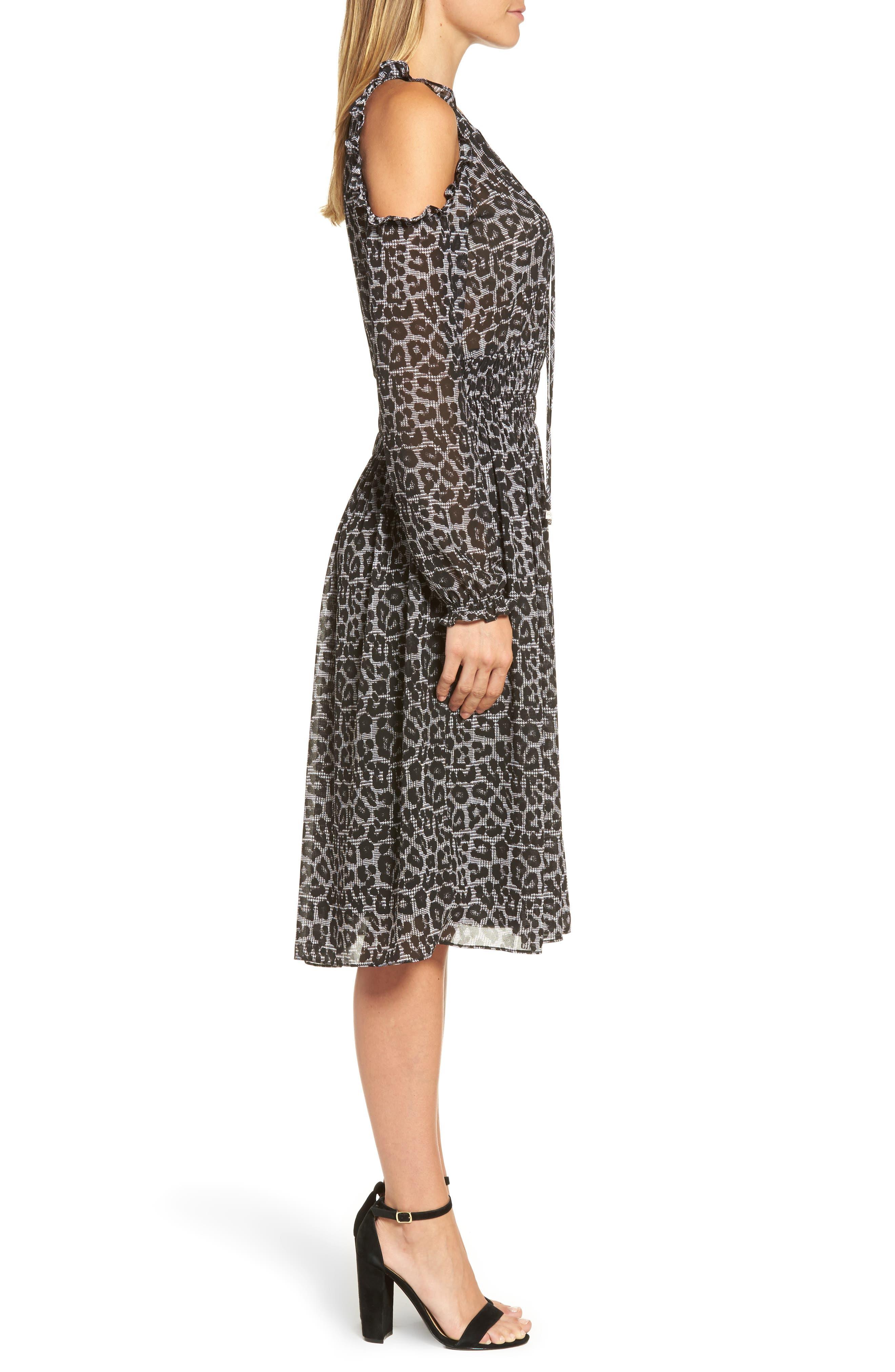 Alternate Image 3  - MICHAEL Michael Kors Leopard Cold Shoulder Midi Dress
