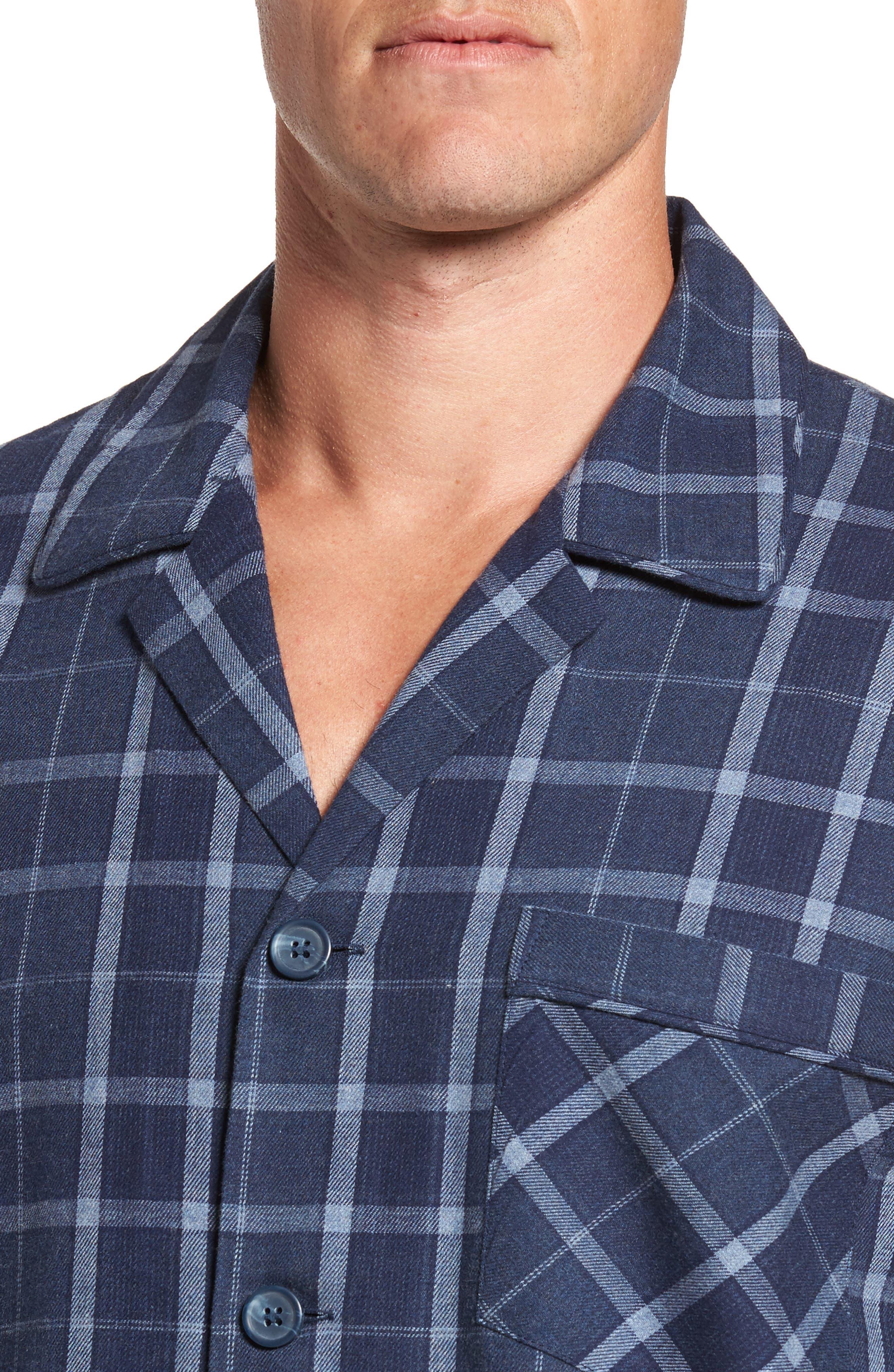 Guiness Plaid Pajama Set,                             Alternate thumbnail 4, color,                             Navy