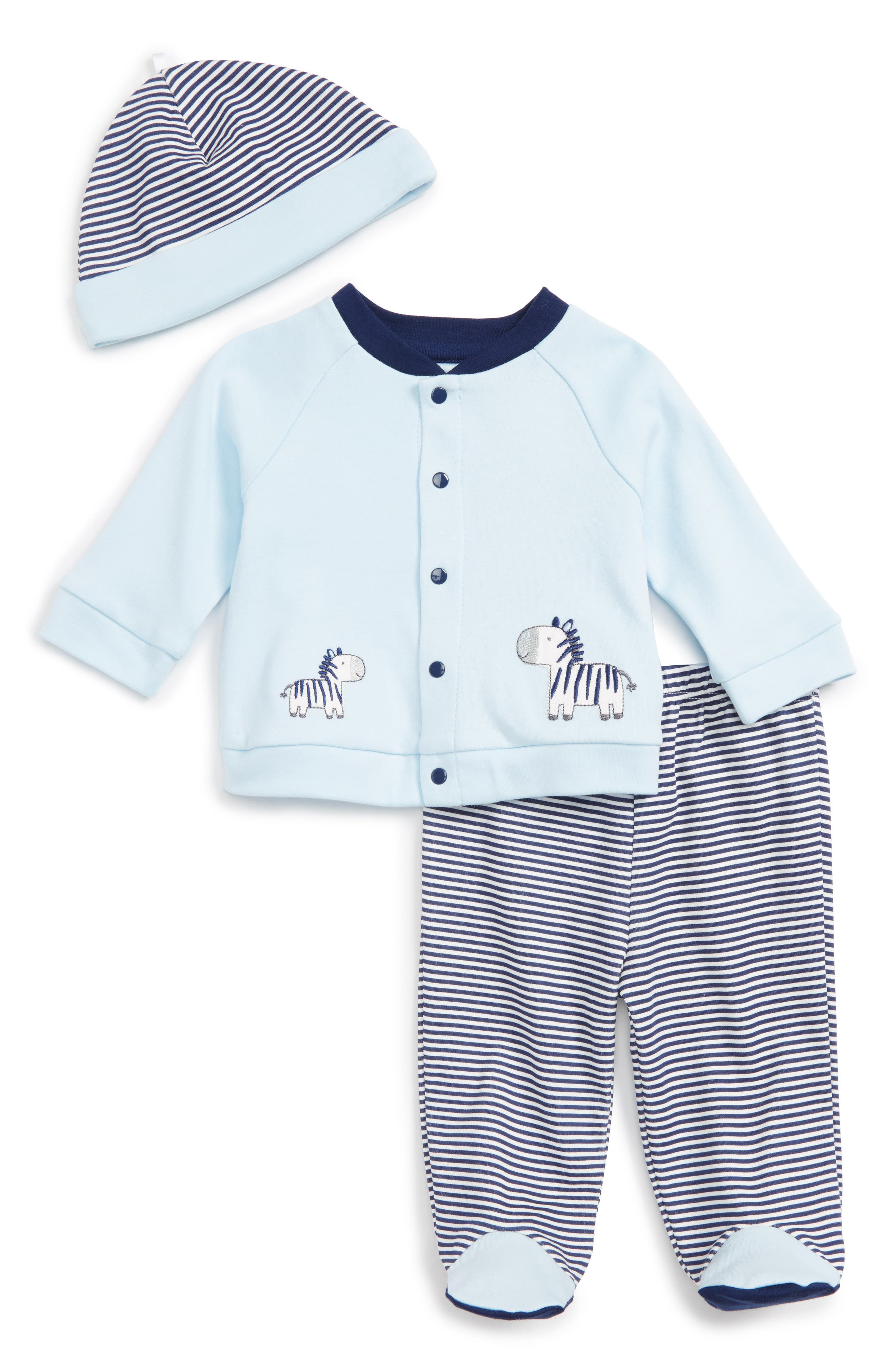Little Me Zebra Cardigan, Pants & Hat Set (Baby Boys)