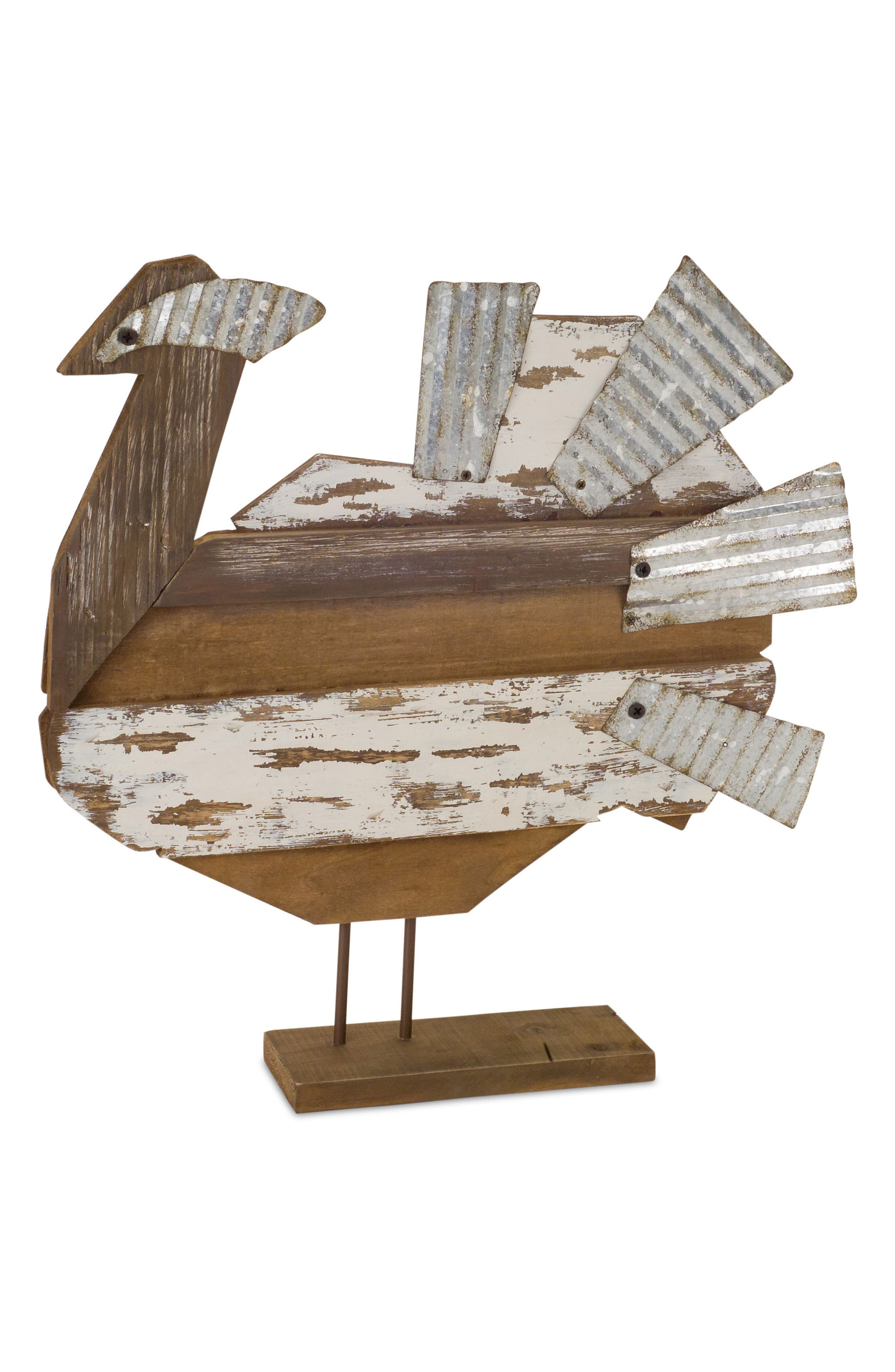 Distressed Wood & Metal Turkey Decoration,                         Main,                         color, Brown