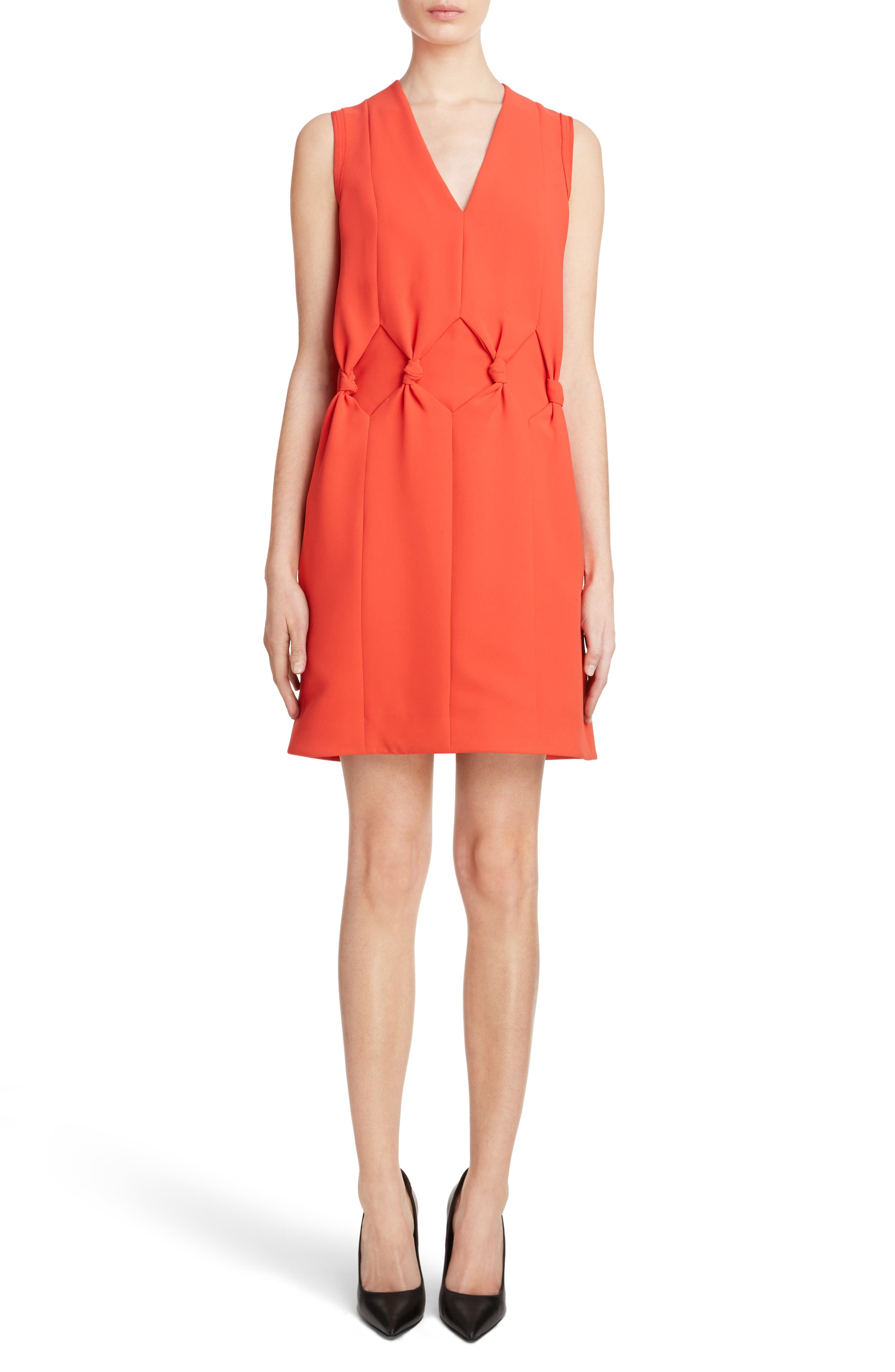 Knot Front Dress,                             Main thumbnail 1, color,                             Postbox Red