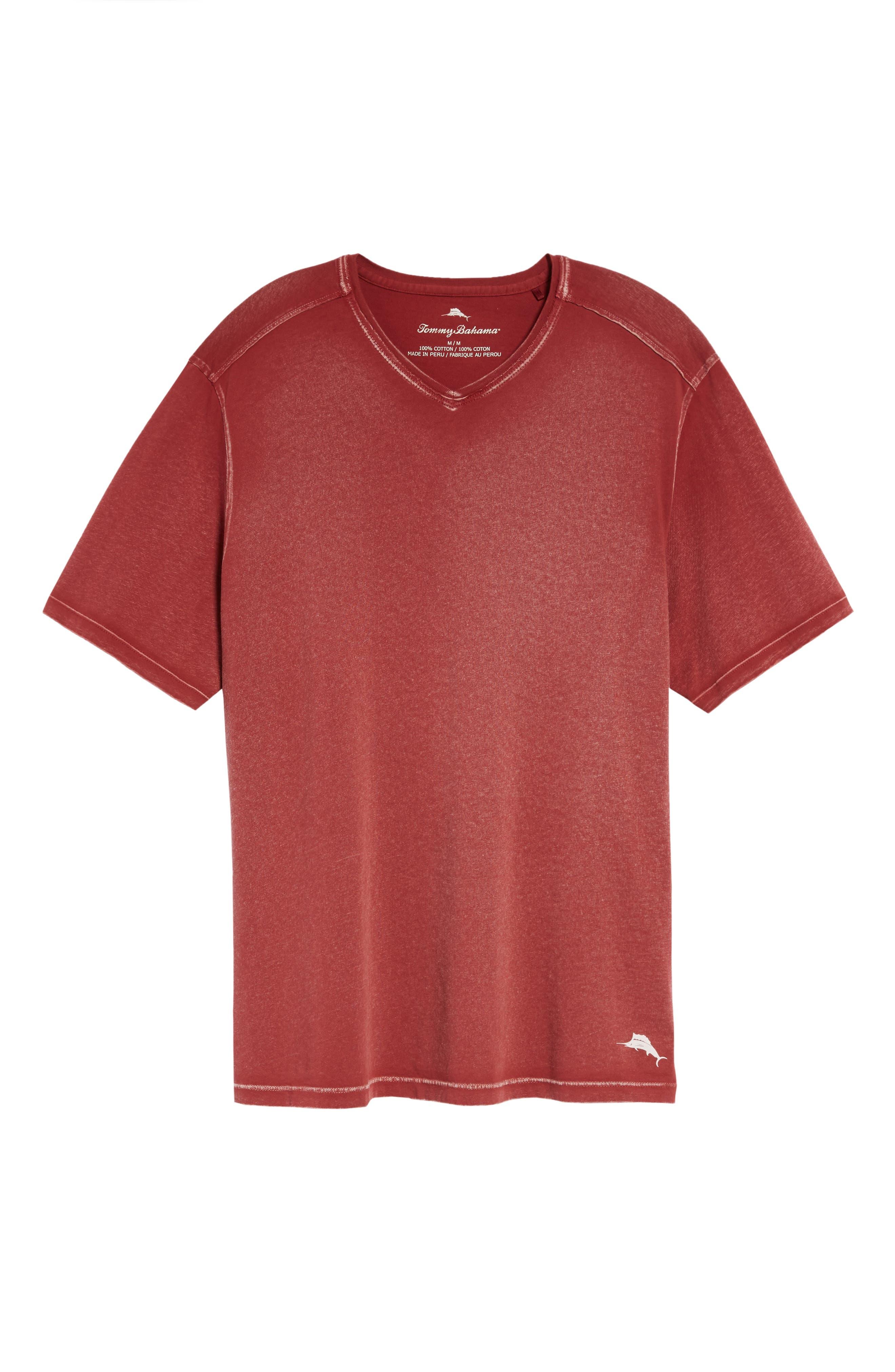 'Kahuna' V-Neck T-Shirt,                             Alternate thumbnail 6, color,                             Ruby Wine