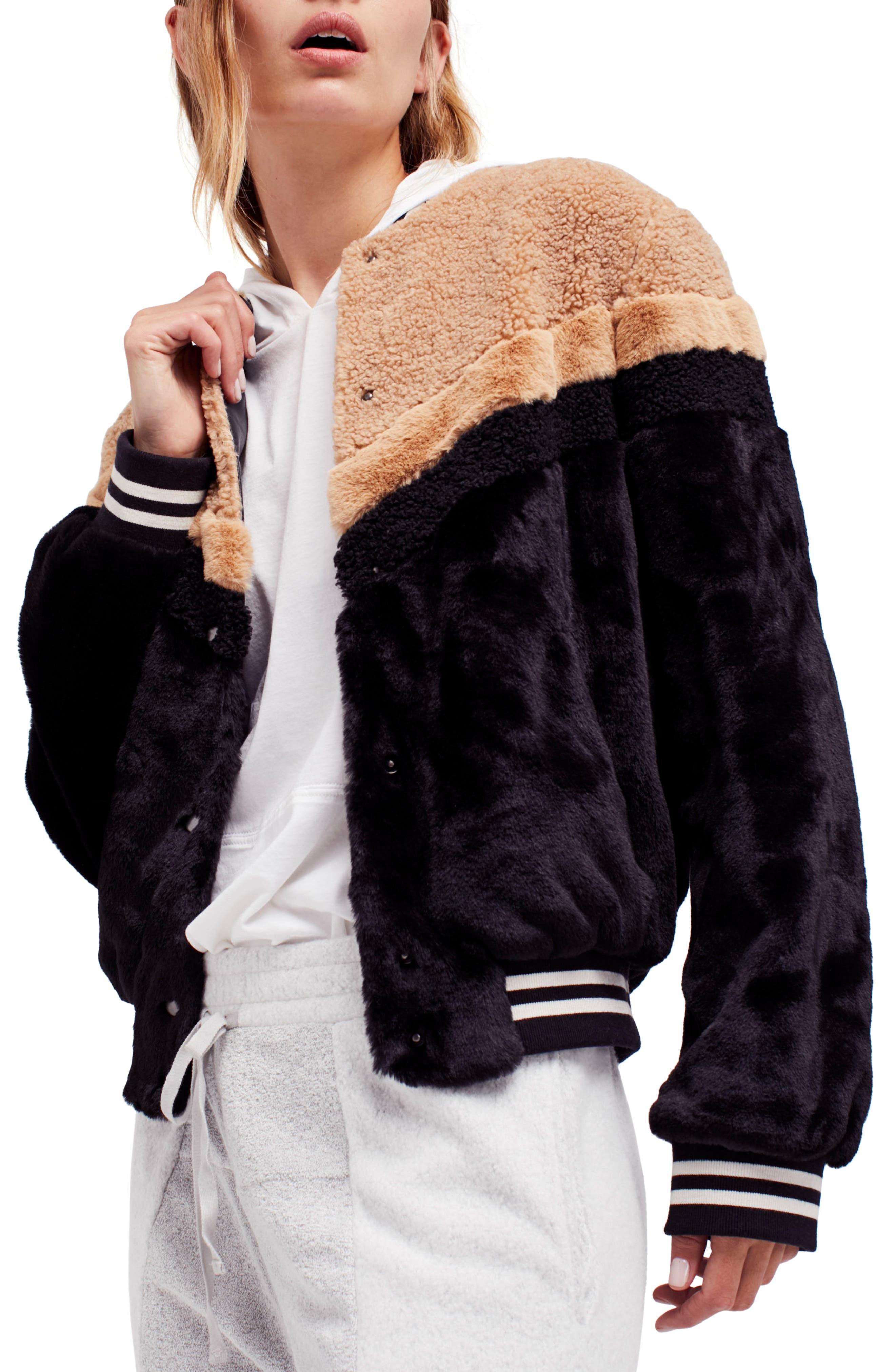 Mixed Faux Fur Bomber Jacket,                             Main thumbnail 1, color,                             Black
