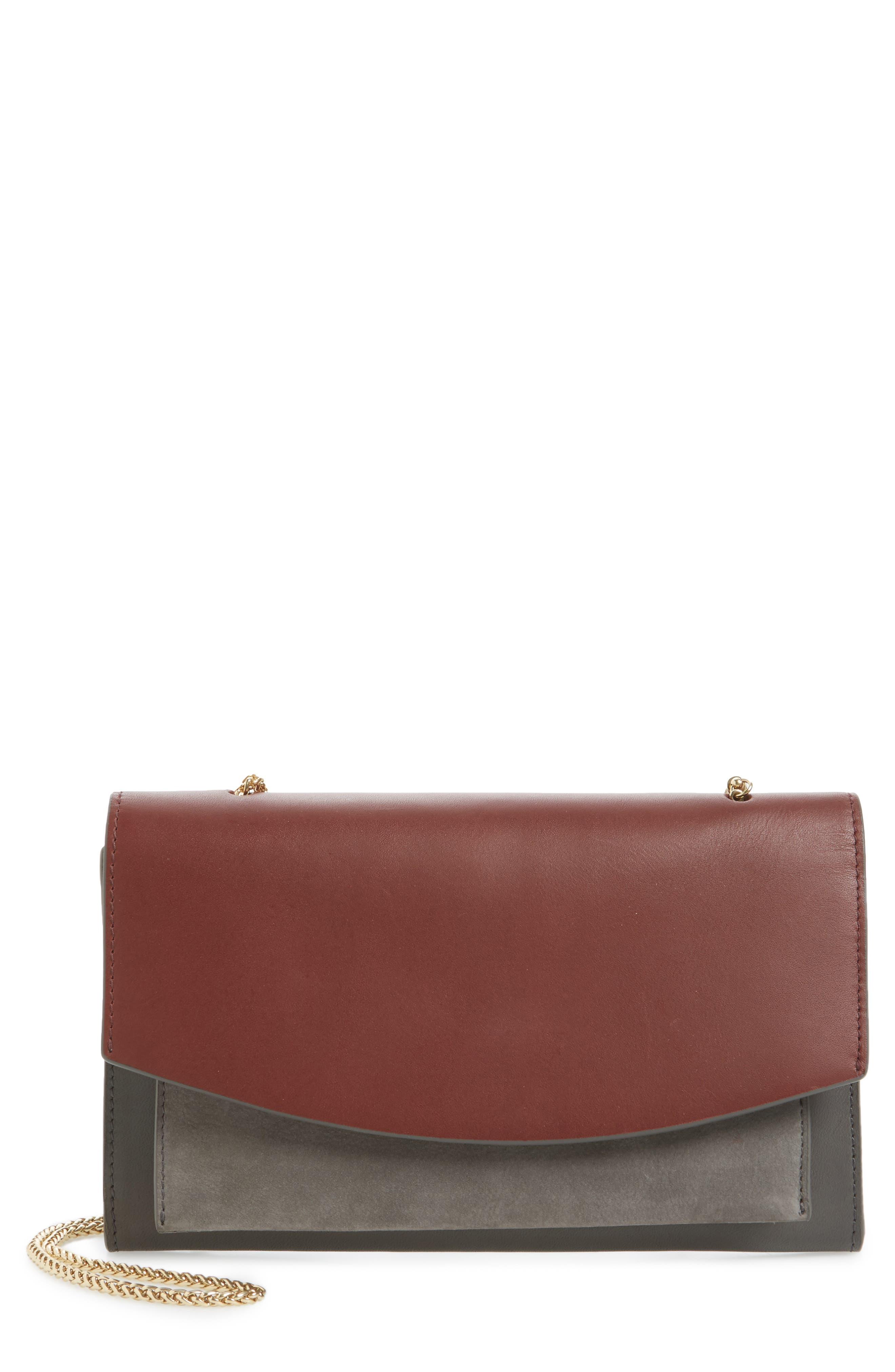 SKAGEN Eryka Leather Envelope Clutch with Detachable Strap