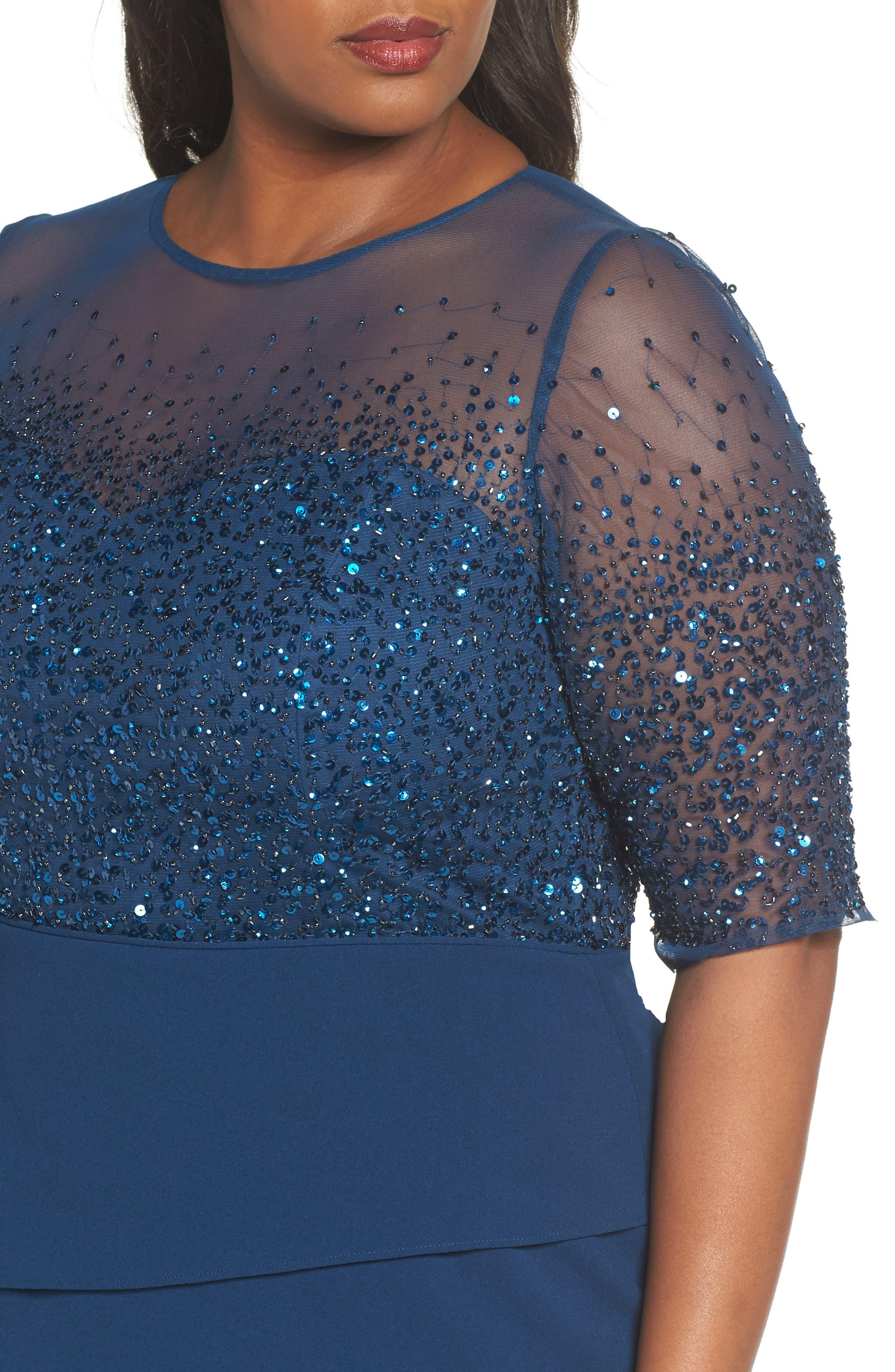 Beaded Bodice Sheath Dress,                             Alternate thumbnail 4, color,                             Deep Blue