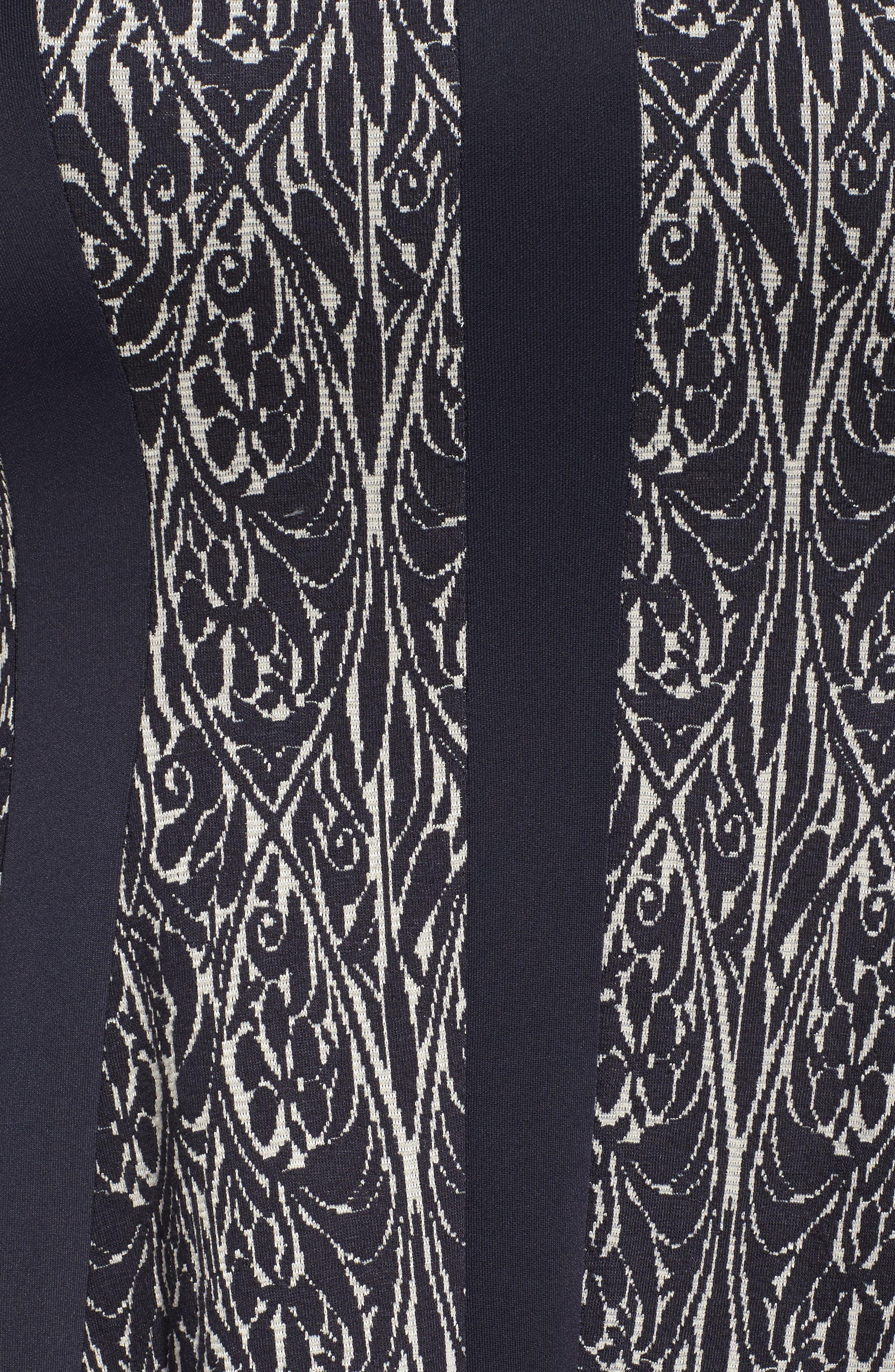 Jacquard Knit A-Line Dress,                             Alternate thumbnail 5, color,                             Navy/ Ivory