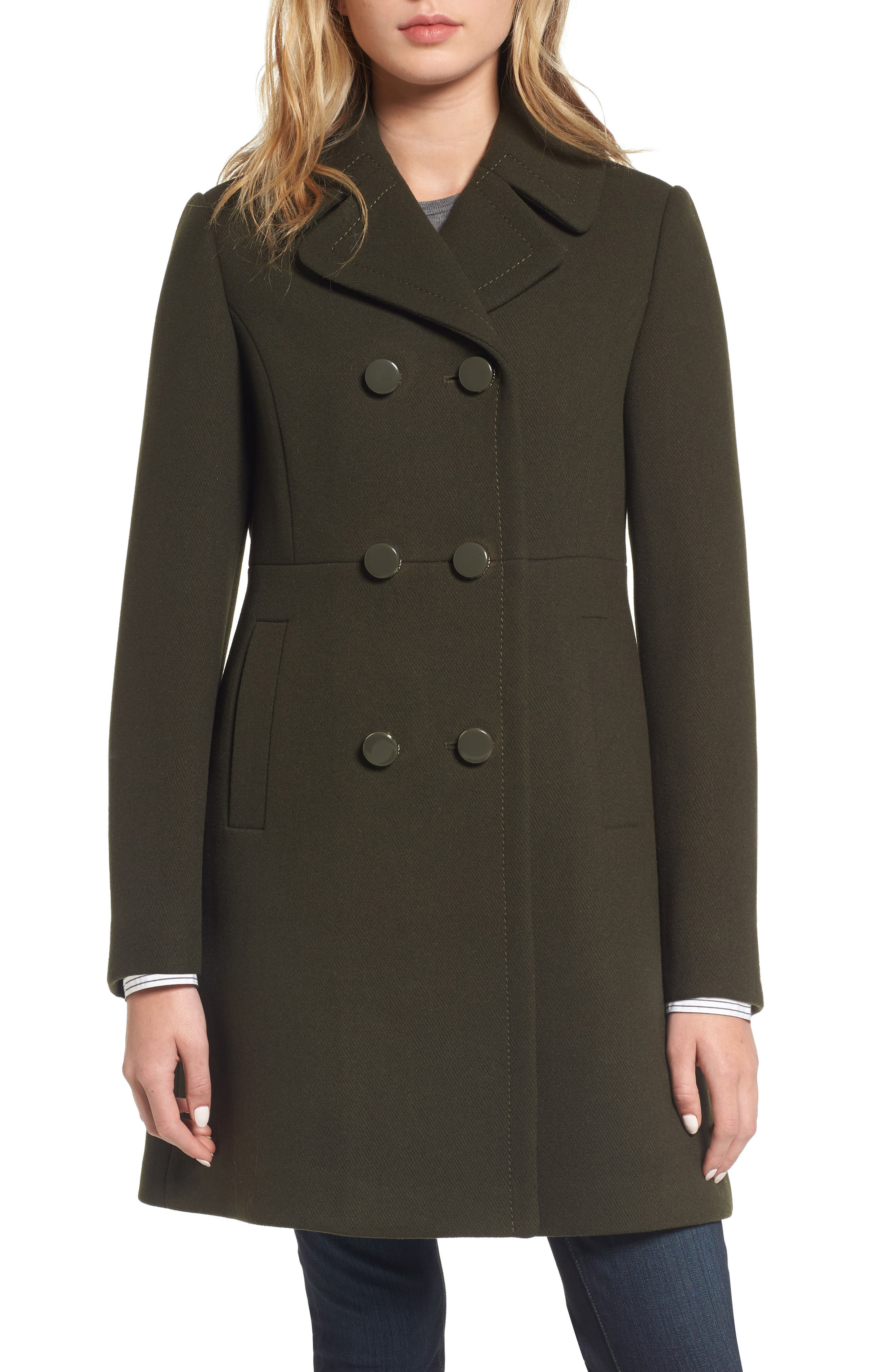 double breasted coat,                         Main,                         color, Olive Grove