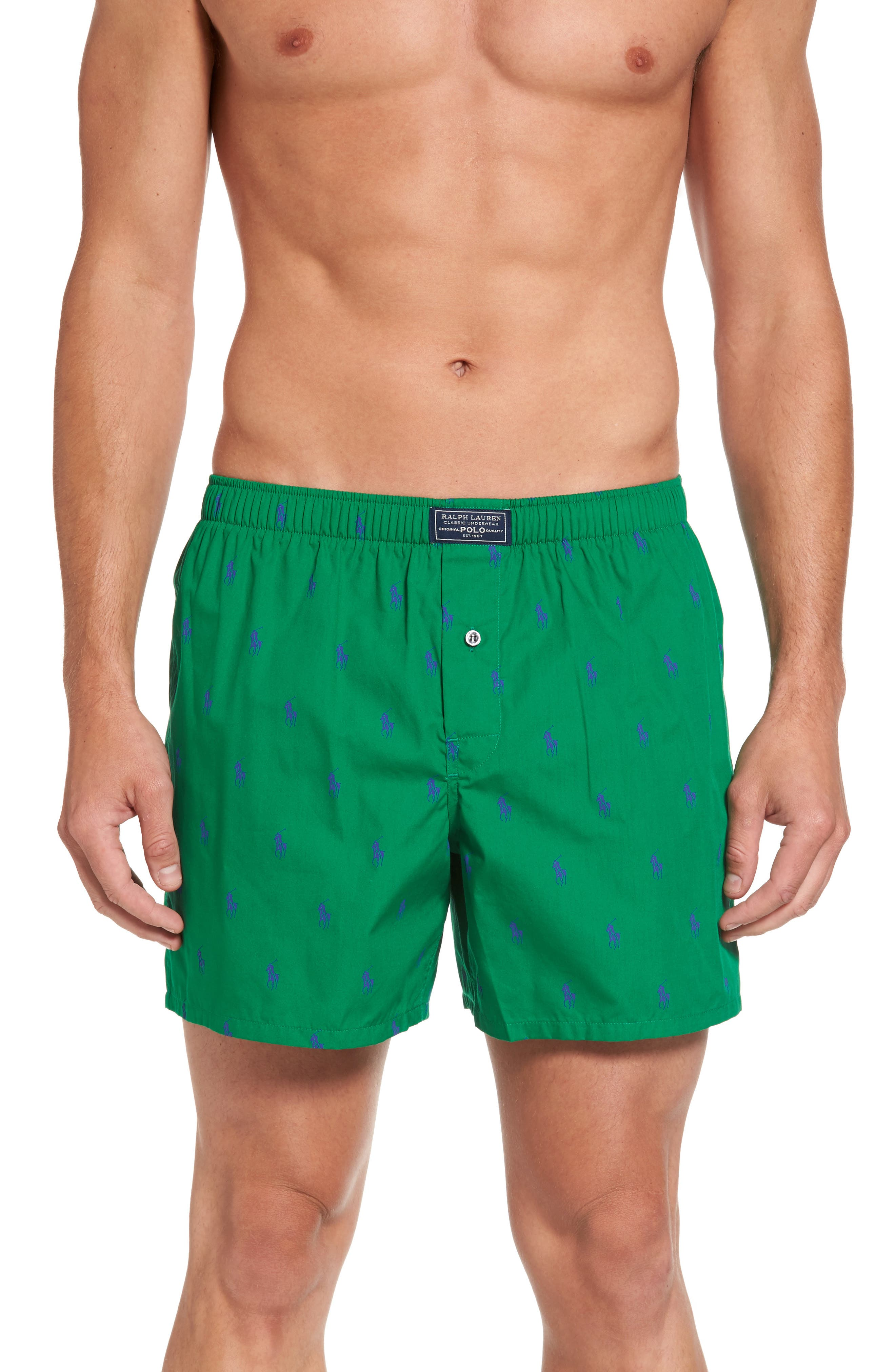 Pony Cotton Boxers,                         Main,                         color, English Green