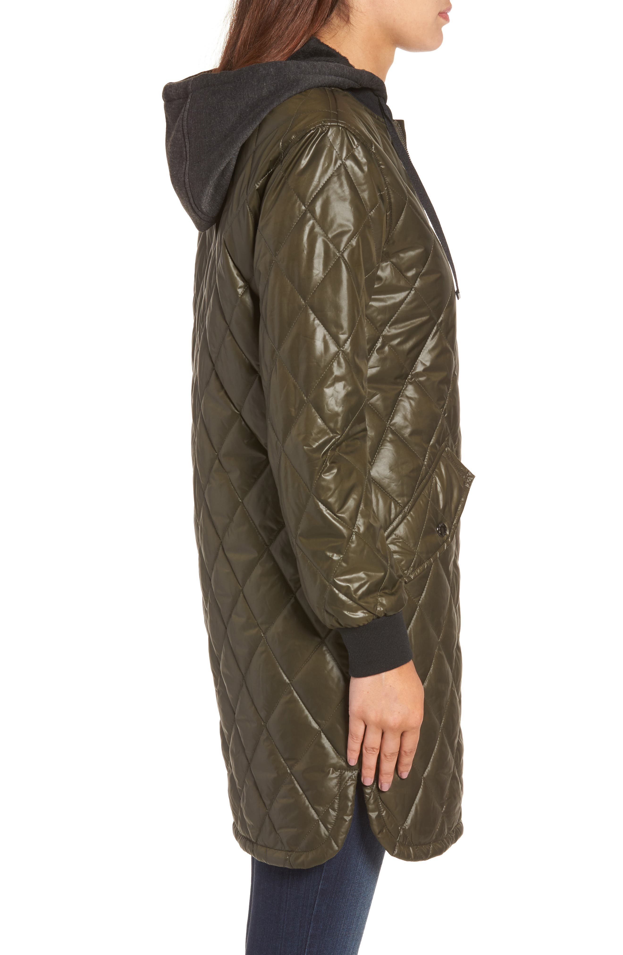Quilted Jacket,                             Alternate thumbnail 3, color,                             Olive