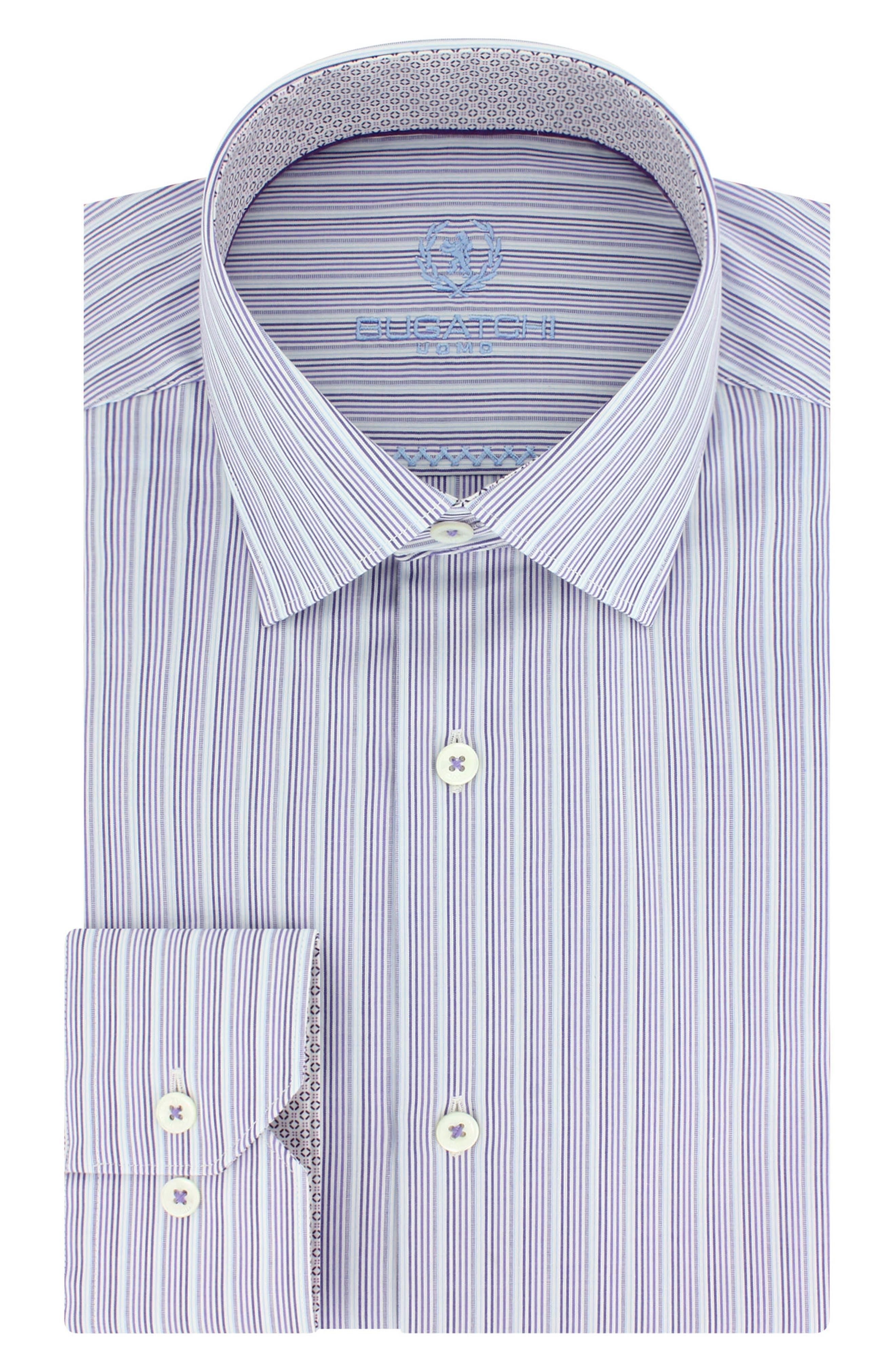 Trim Fit Stripe Dress Shirt,                         Main,                         color, Lilac