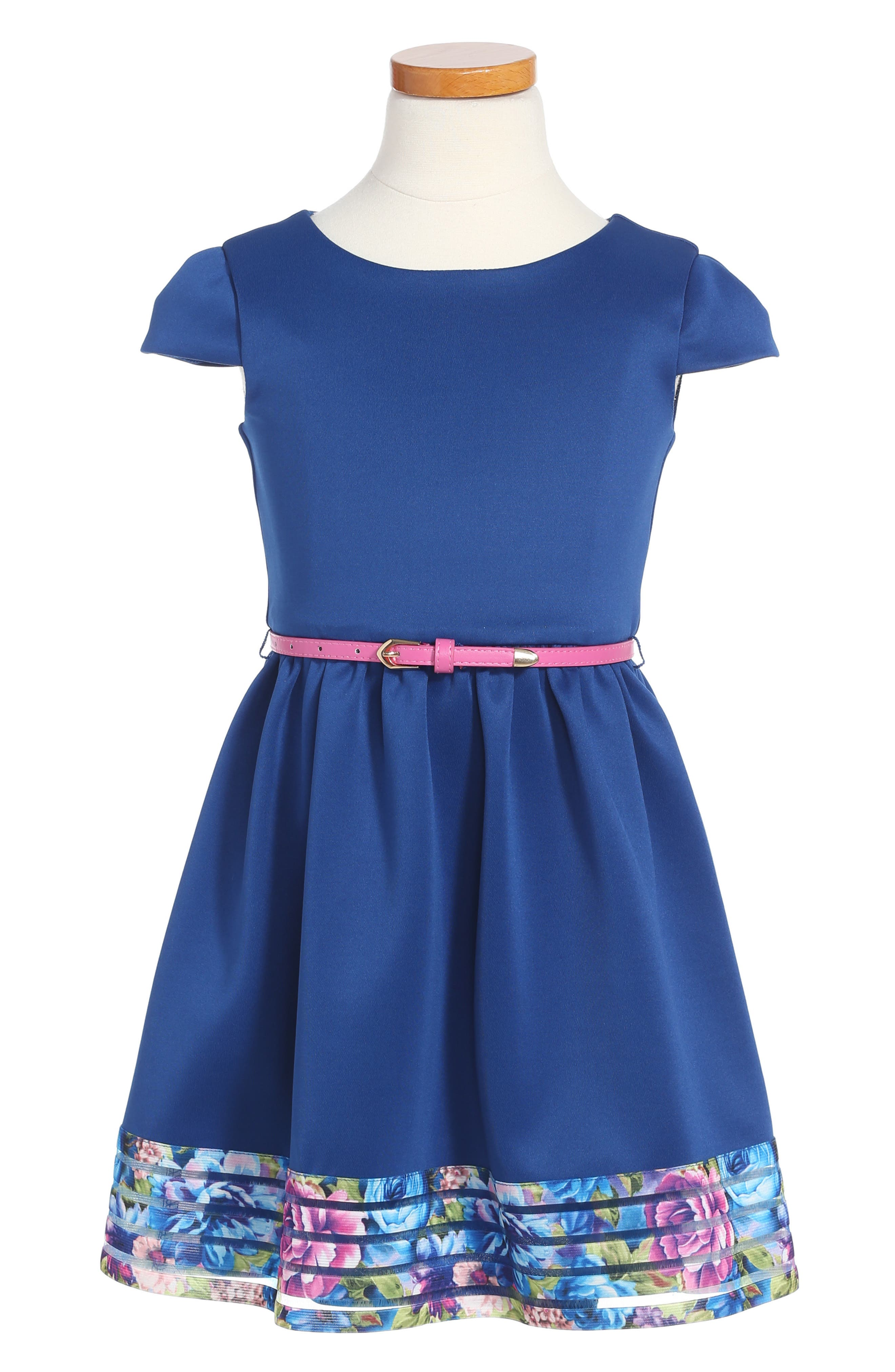 Elastic Stripe Dress,                         Main,                         color, Navy