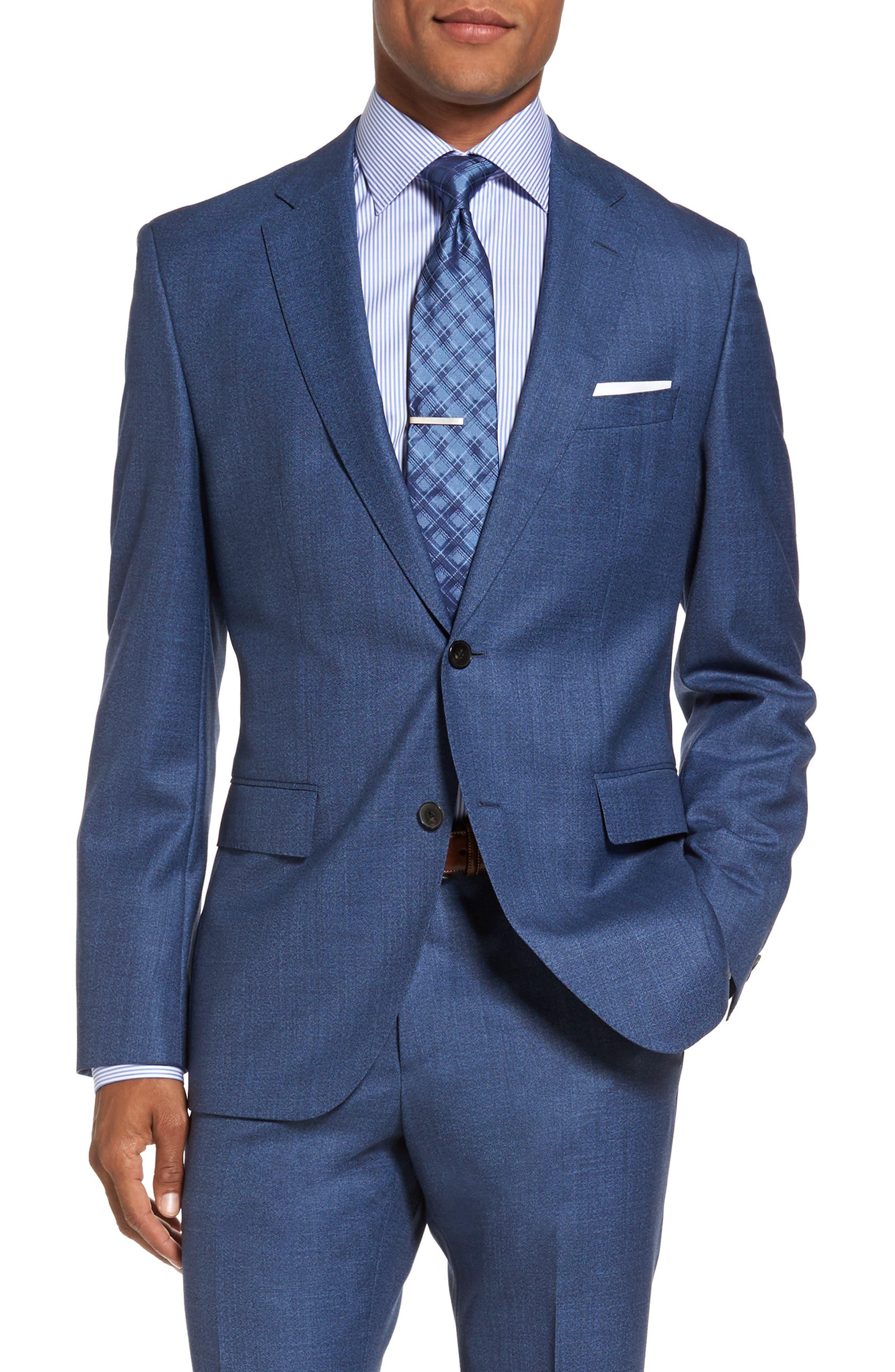 Johnstons/Lenon Classic Fit Solid Wool Suit,                             Alternate thumbnail 5, color,                             Medium Blue