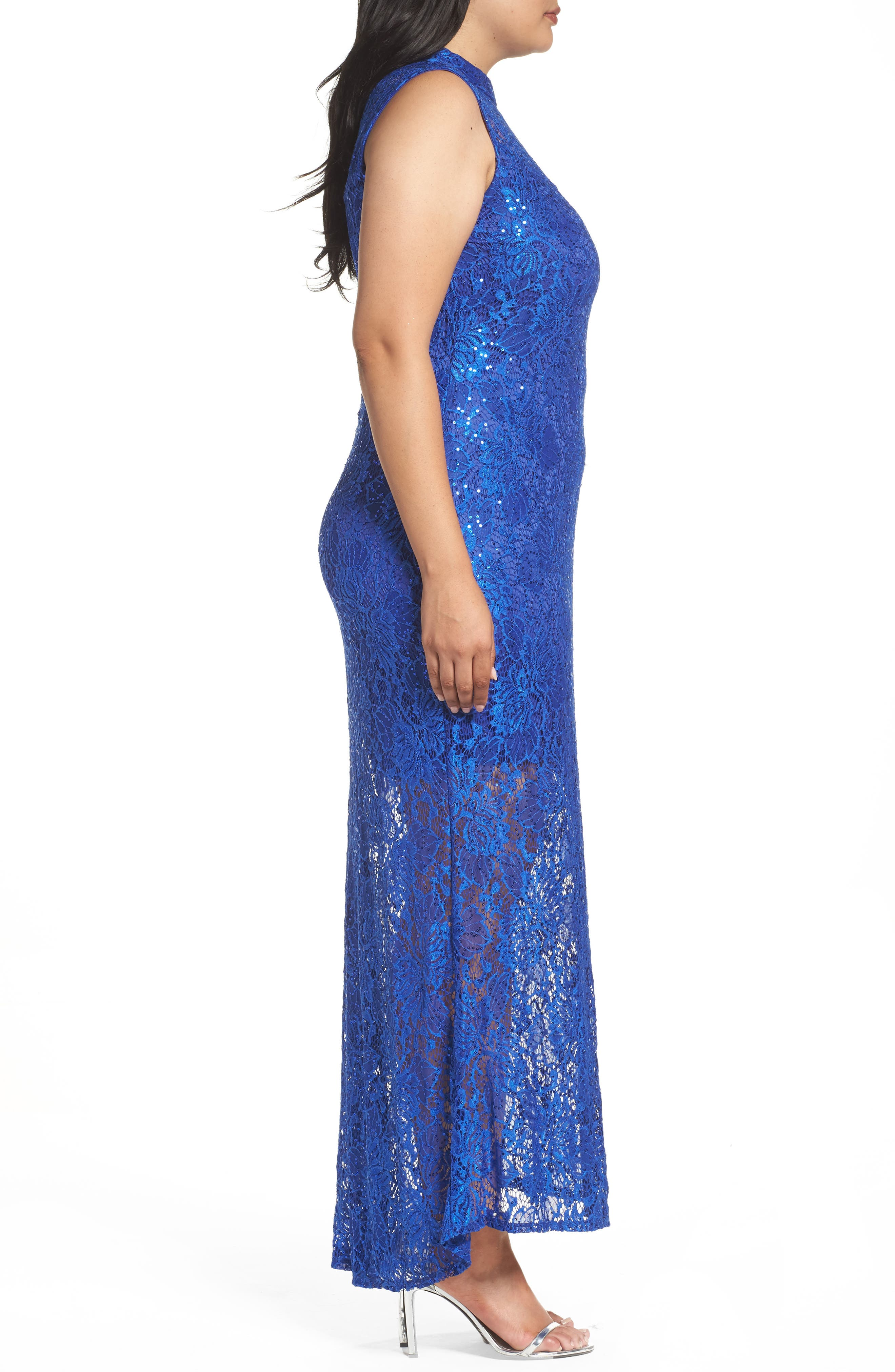 Alternate Image 3  - Marina Illusion Lace Gown (Plus Size)