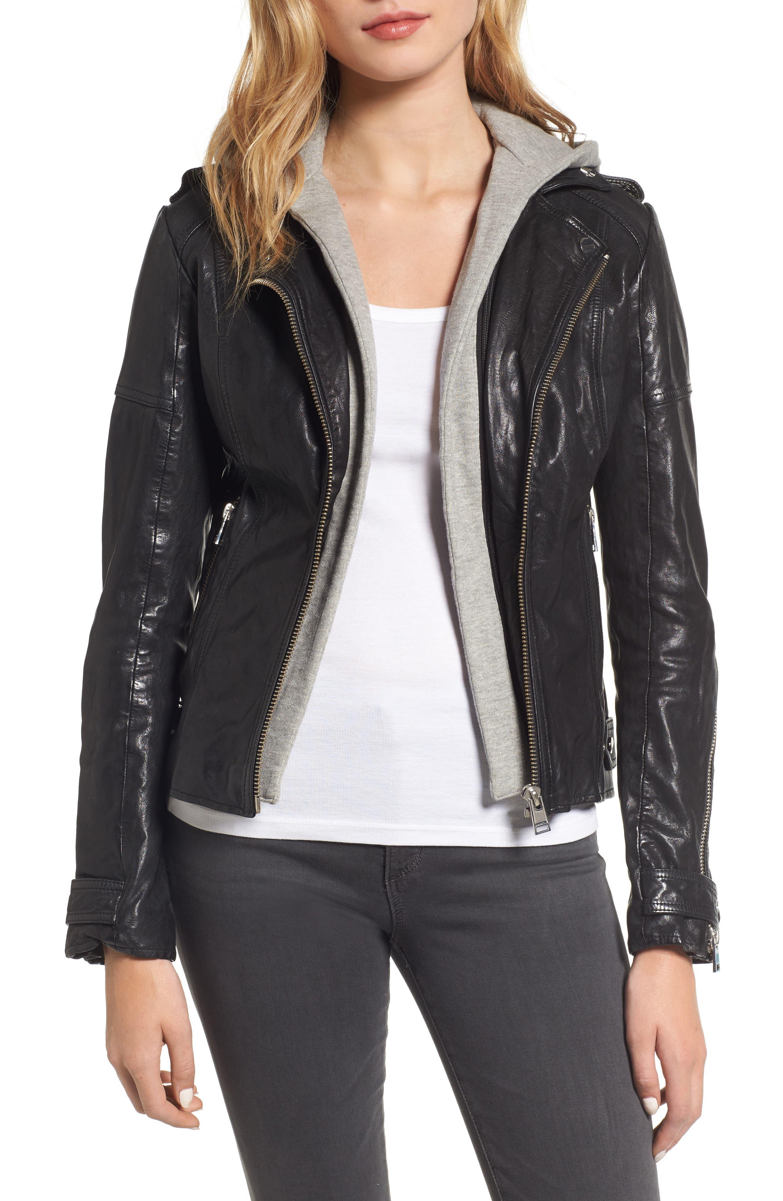 Hooded Leather Biker Jacket,                             Main thumbnail 1, color,                             Black