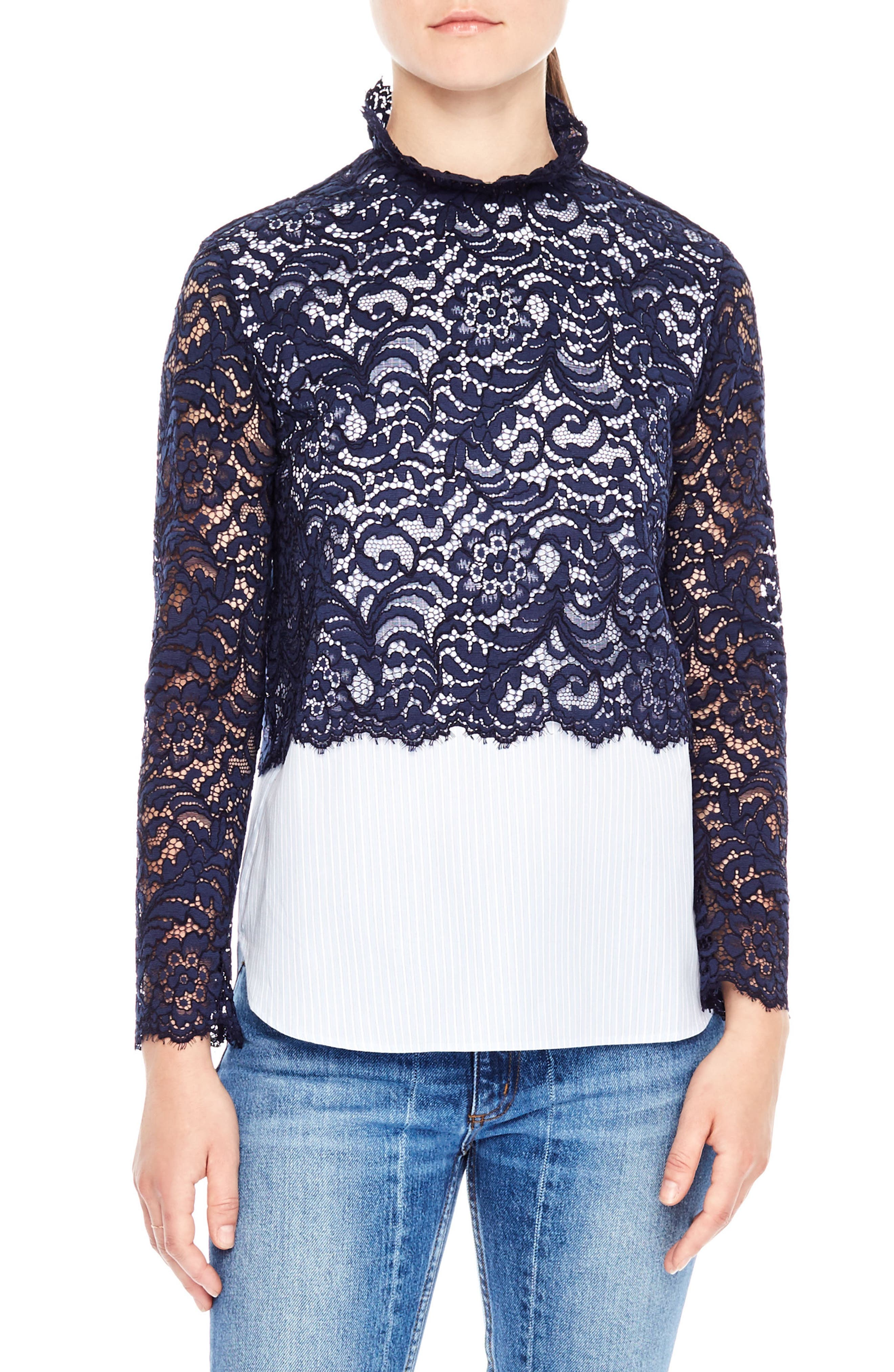 Alternate Image 1 Selected - sandro Lace & Poplin Top