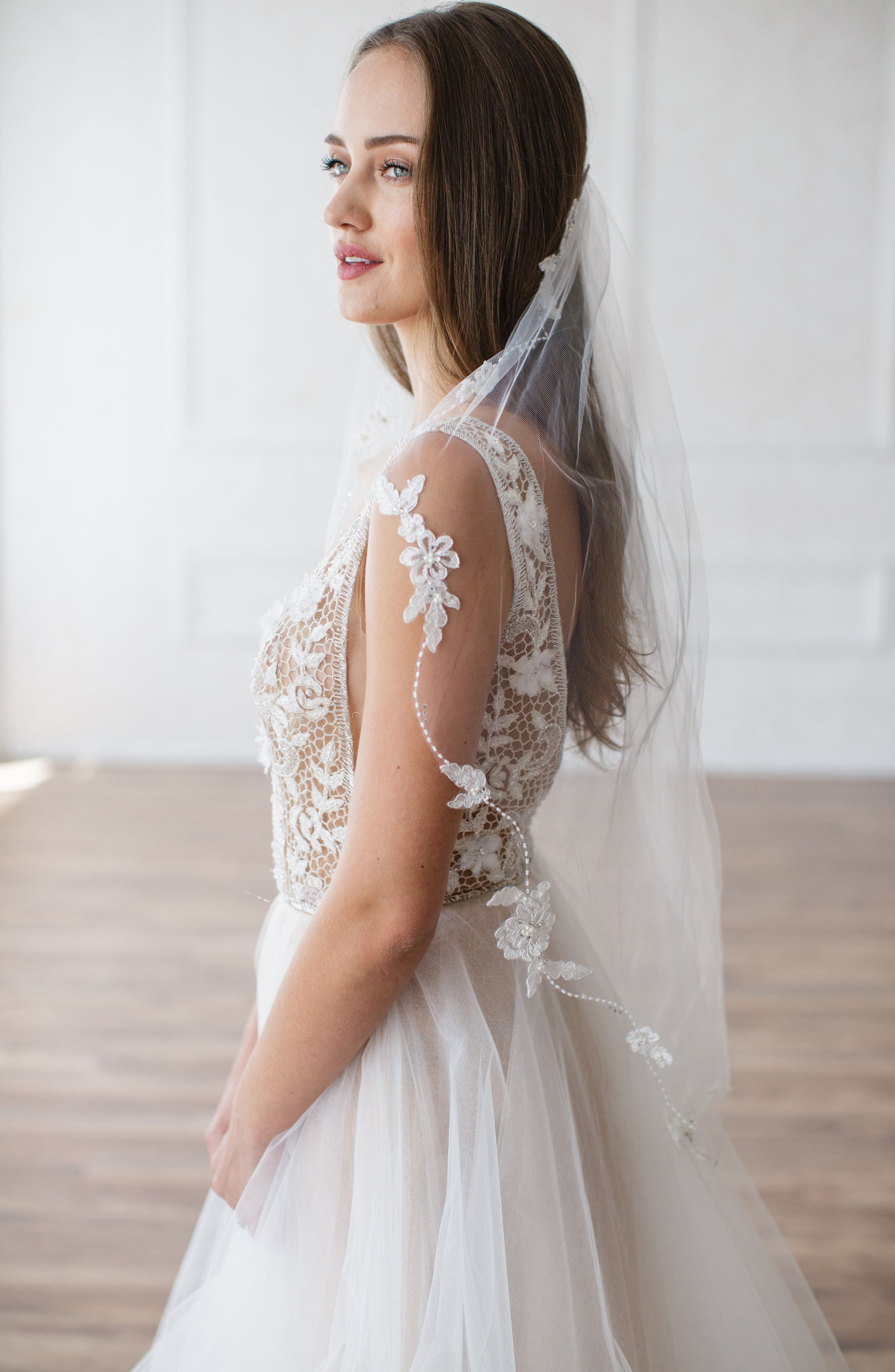 Mikaela Embellished Veil,                         Main,                         color, Ivory