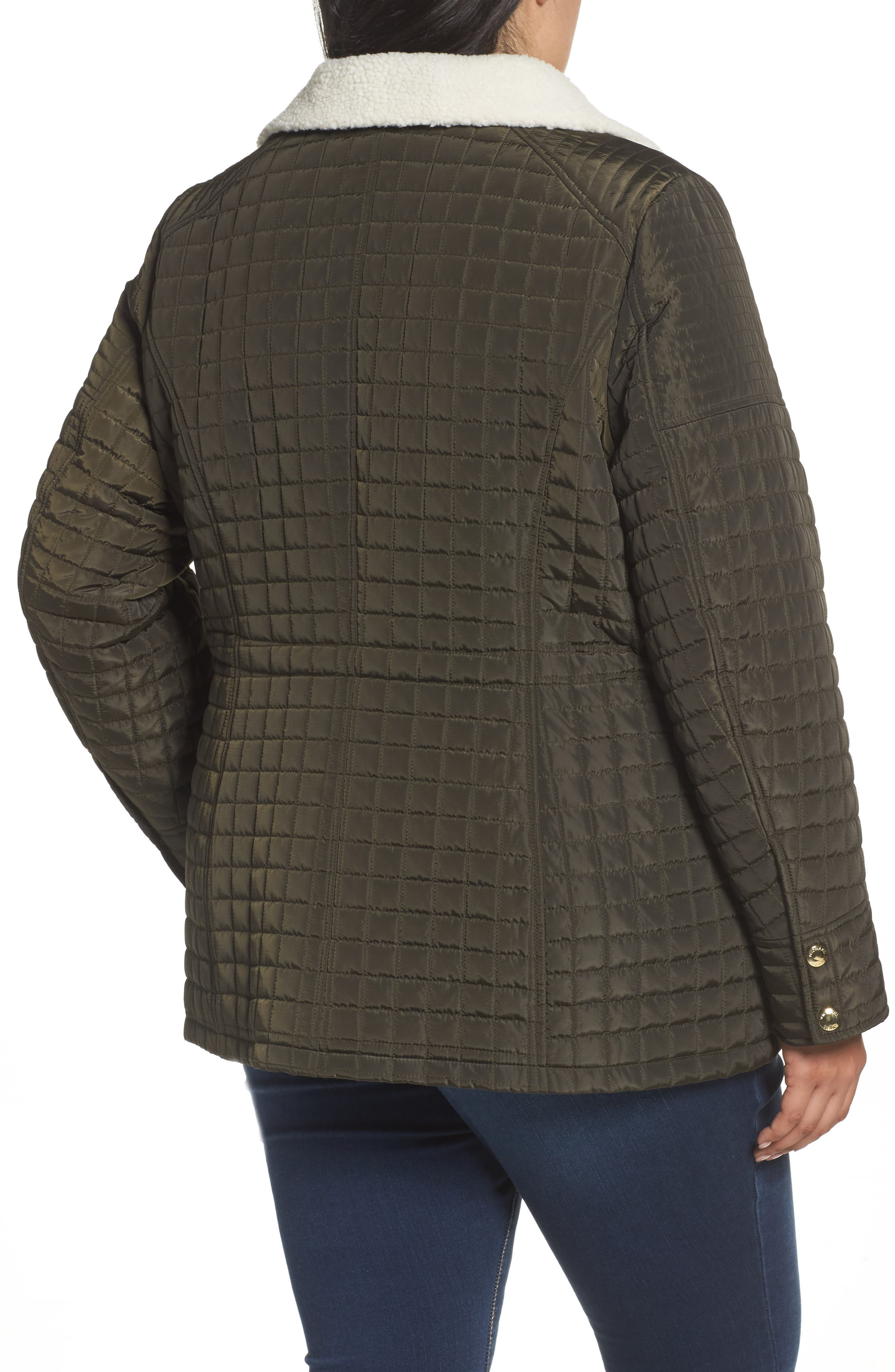 Quilted Jacket with Faux Shearling Trim,                             Alternate thumbnail 2, color,                             Dark Moss