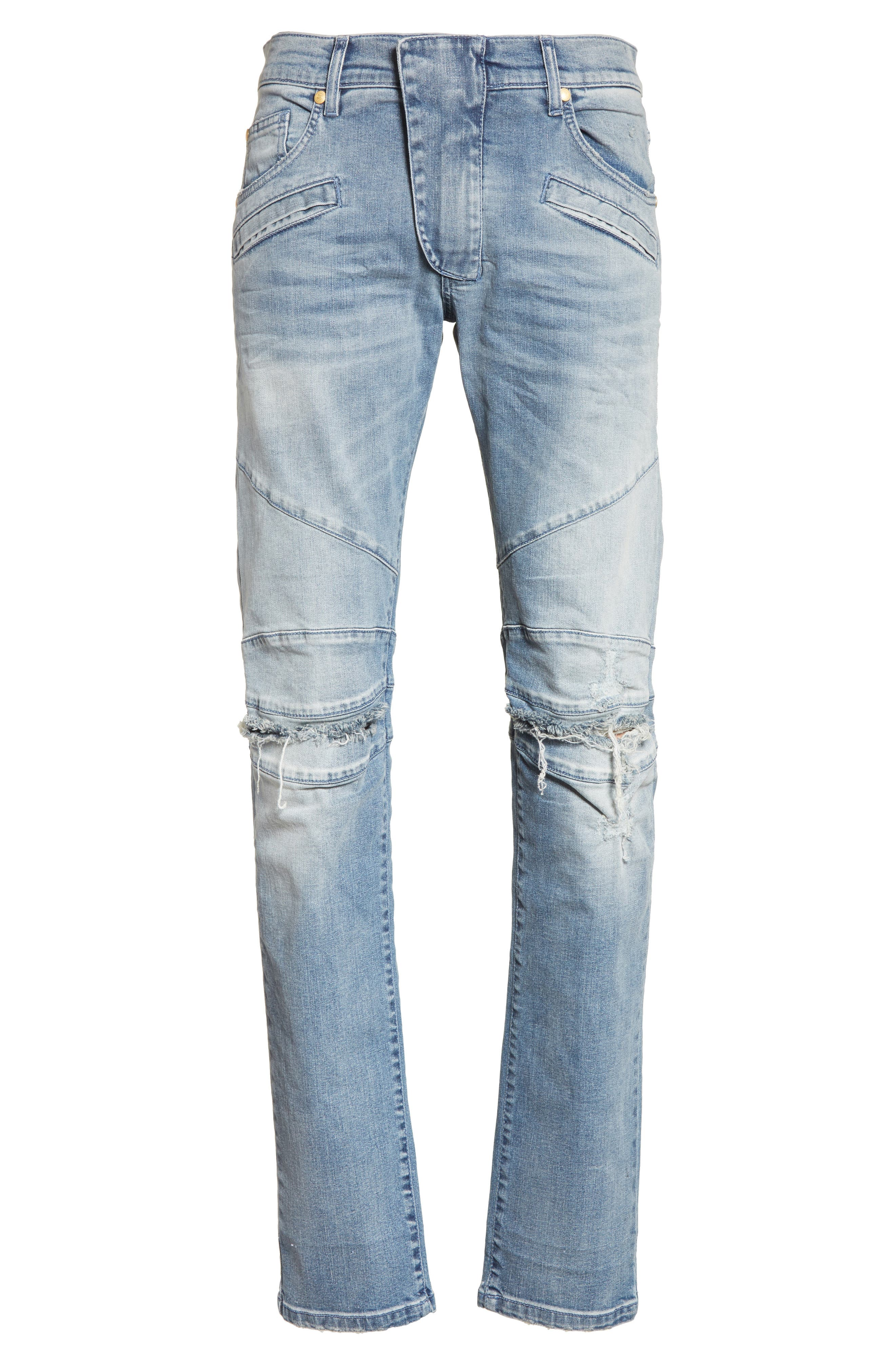 Slit Knee Jeans,                             Alternate thumbnail 6, color,                             Blue Denim