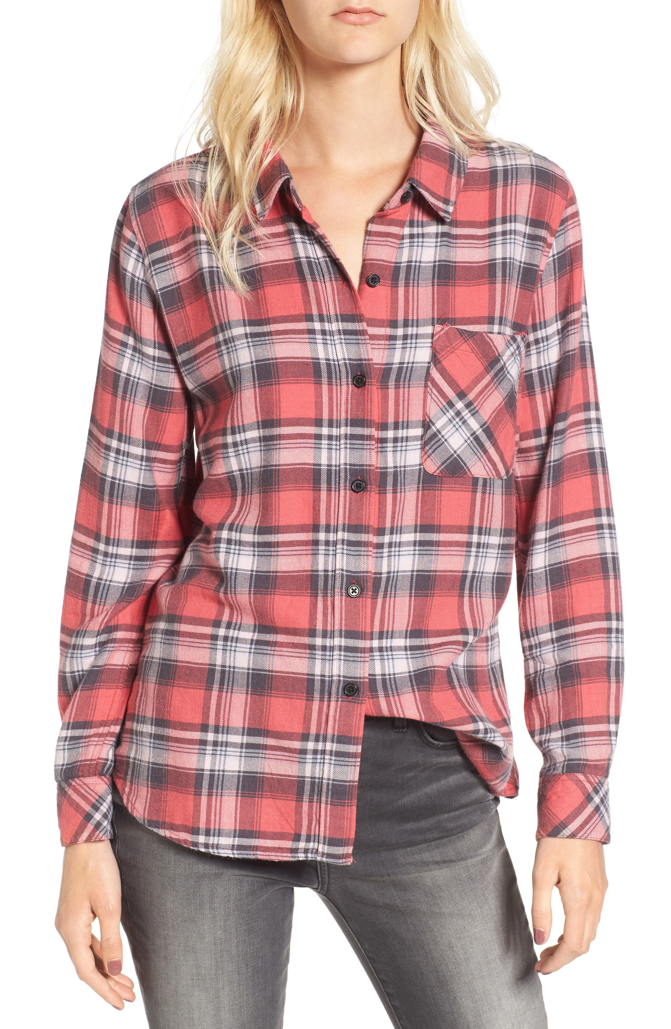 Milo Plaid Shirt,                             Main thumbnail 1, color,                             Bonfire/ Ash