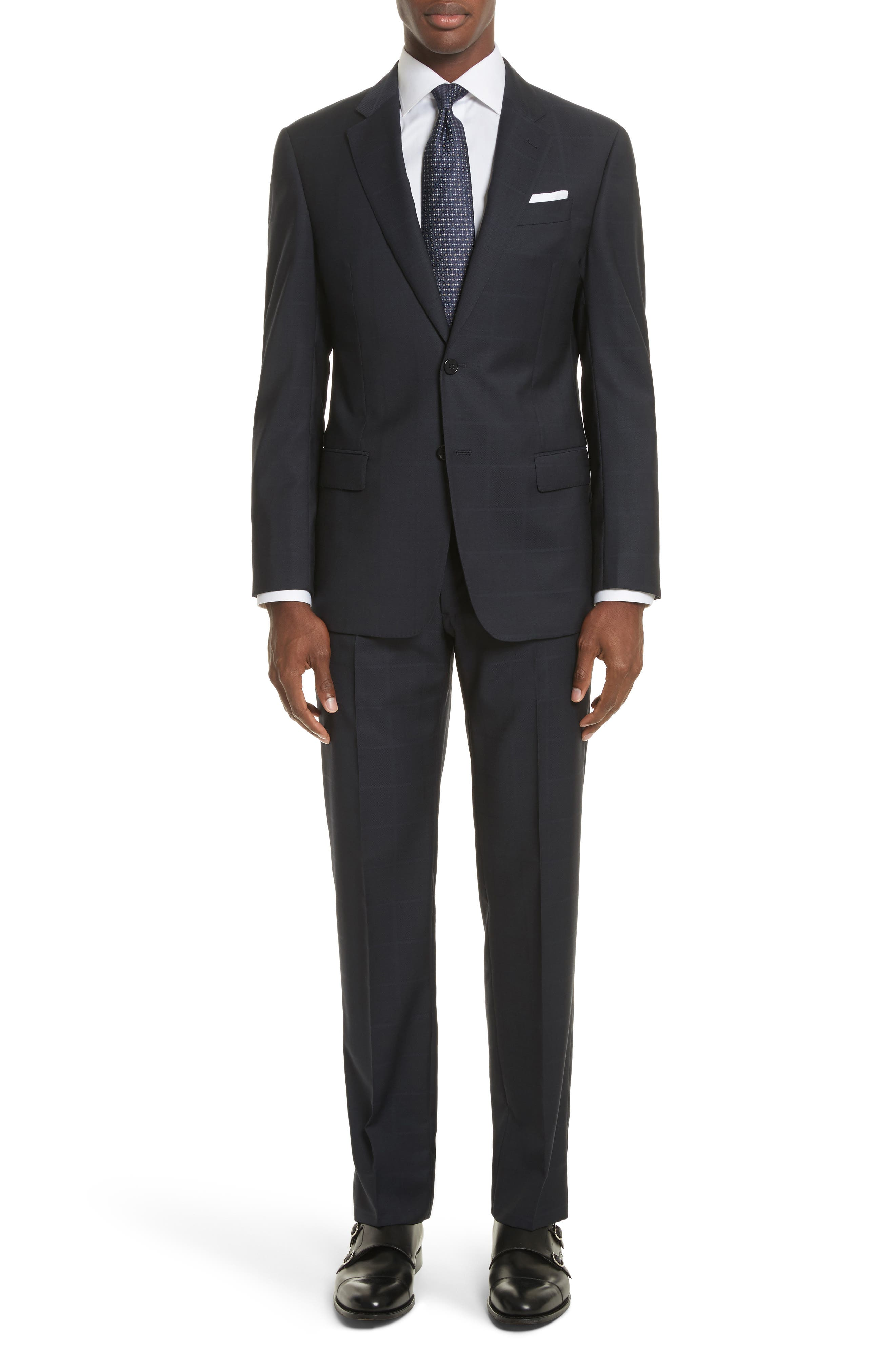 Alternate Image 1 Selected - Armani Collezioni G-Line Trim Fit Windowpane Wool Suit