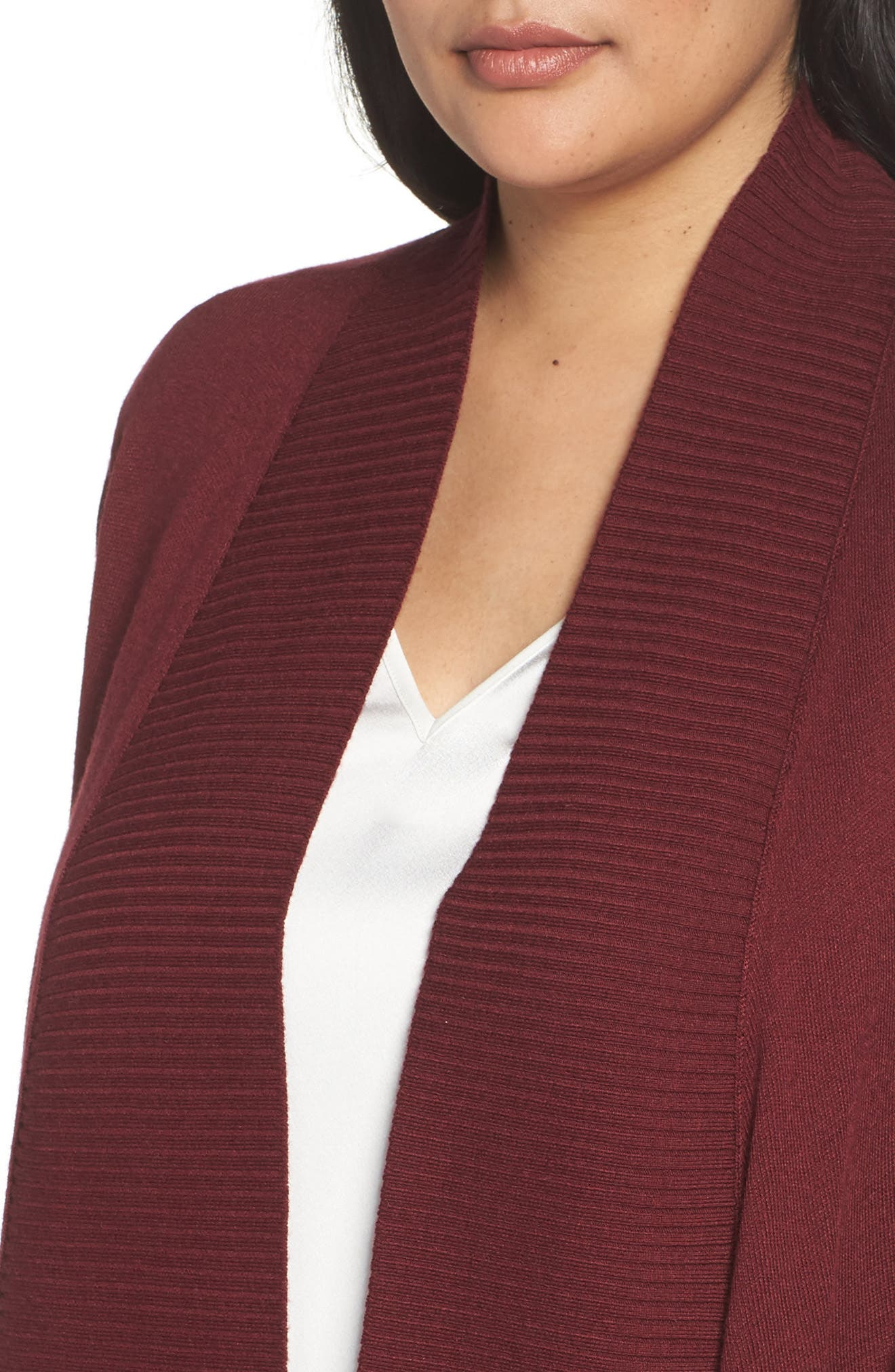 Cascade Open Front Cardigan,                             Alternate thumbnail 4, color,                             Red Tannin