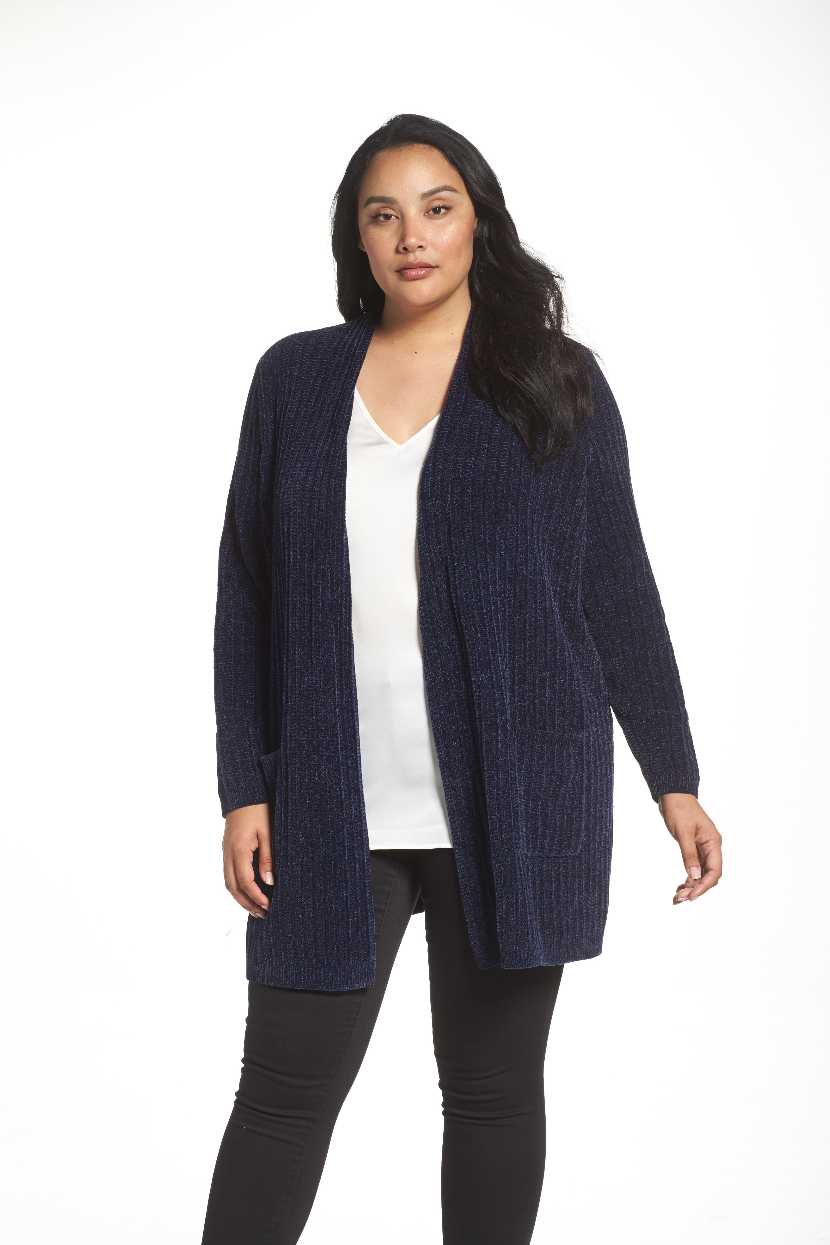 Sejour Ribbed Chenille Cardigan (Plus Size)