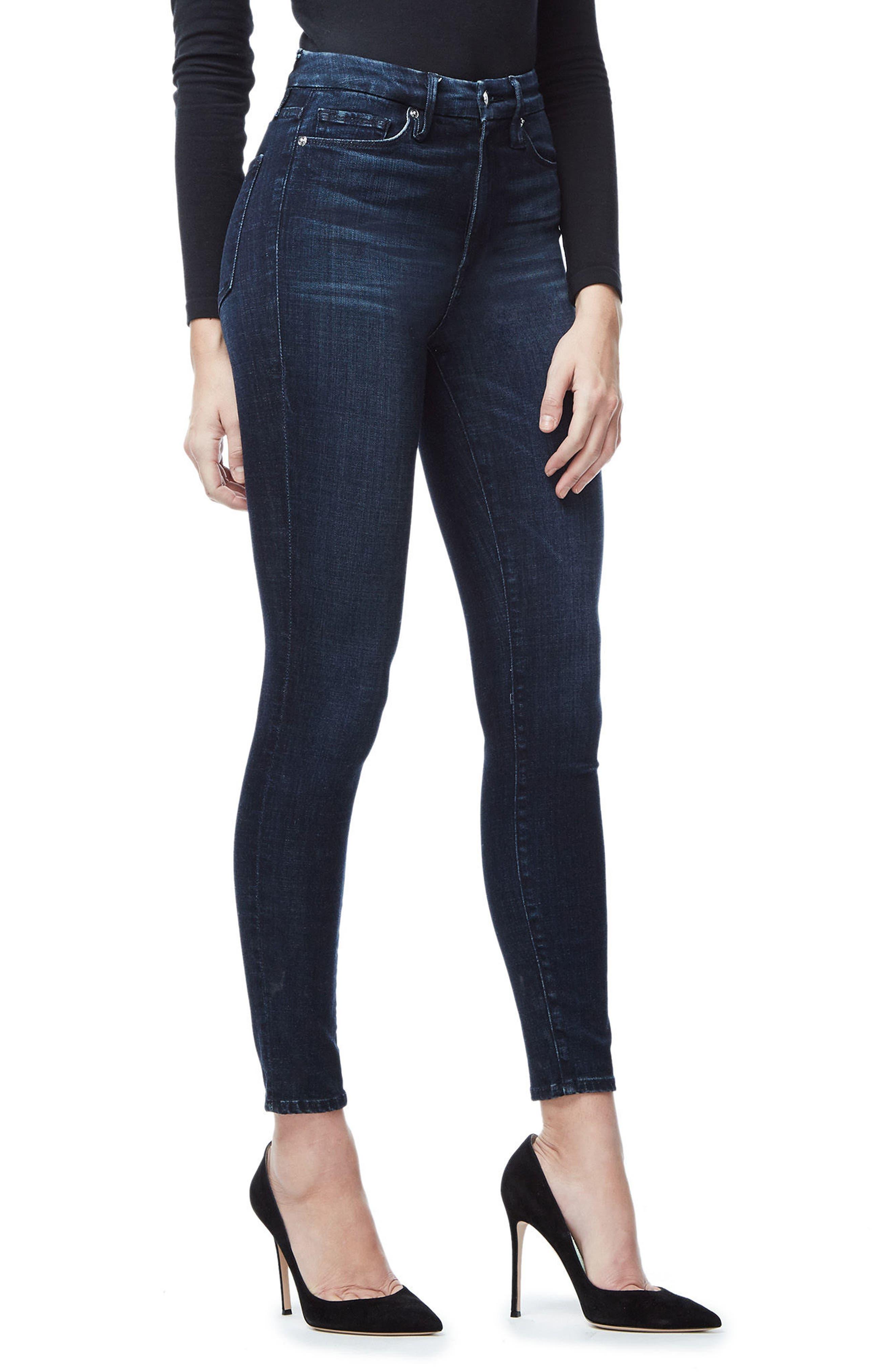 Good Waist High Waist Crop Skinny Jeans,                             Alternate thumbnail 3, color,                             Blue025