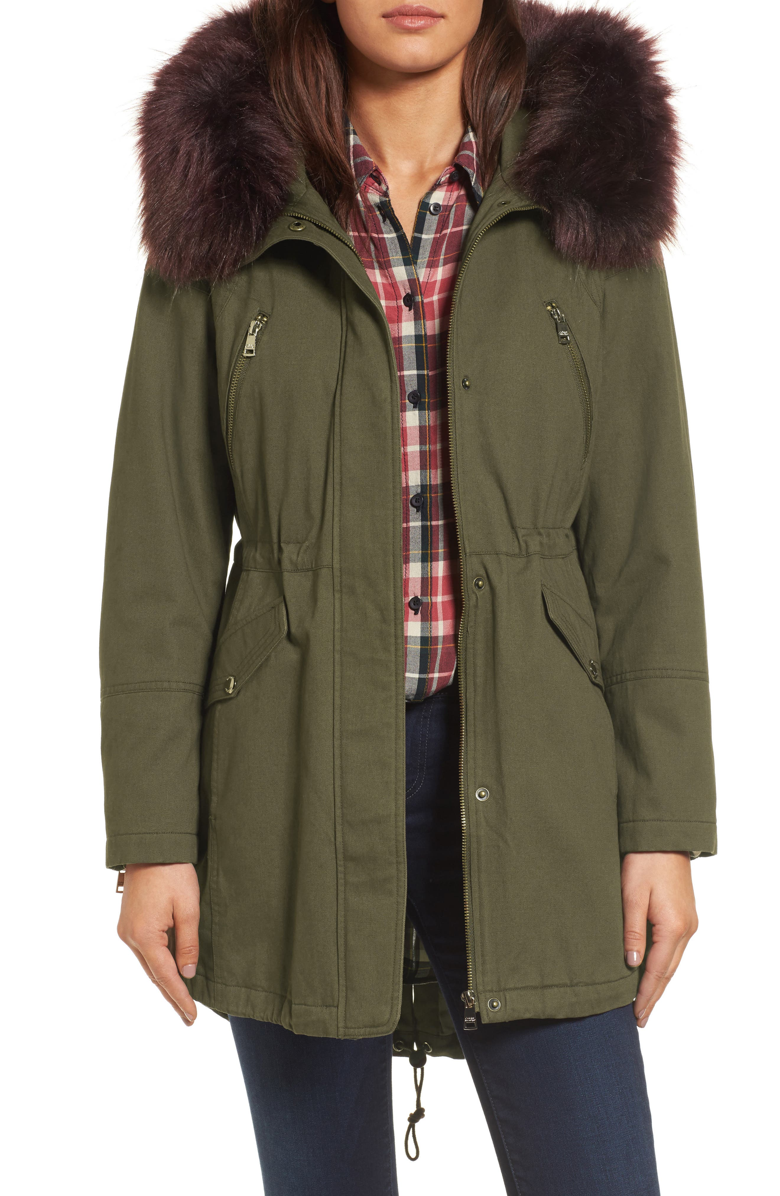 Catherine Catherine Malandrino Parka with Removable Faux Fur Trim
