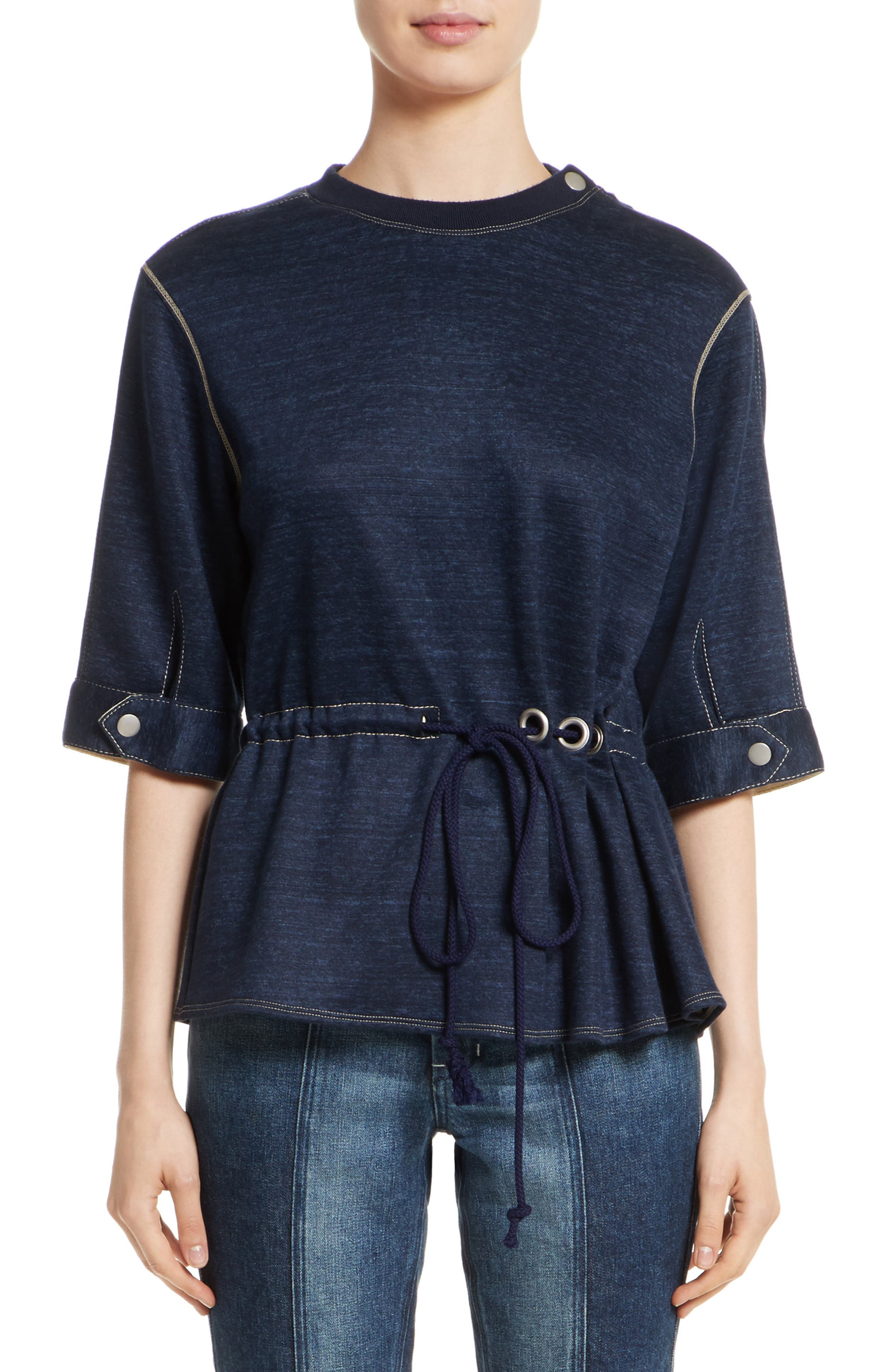 Colovos Drawstring Waist Sweatshirt Top