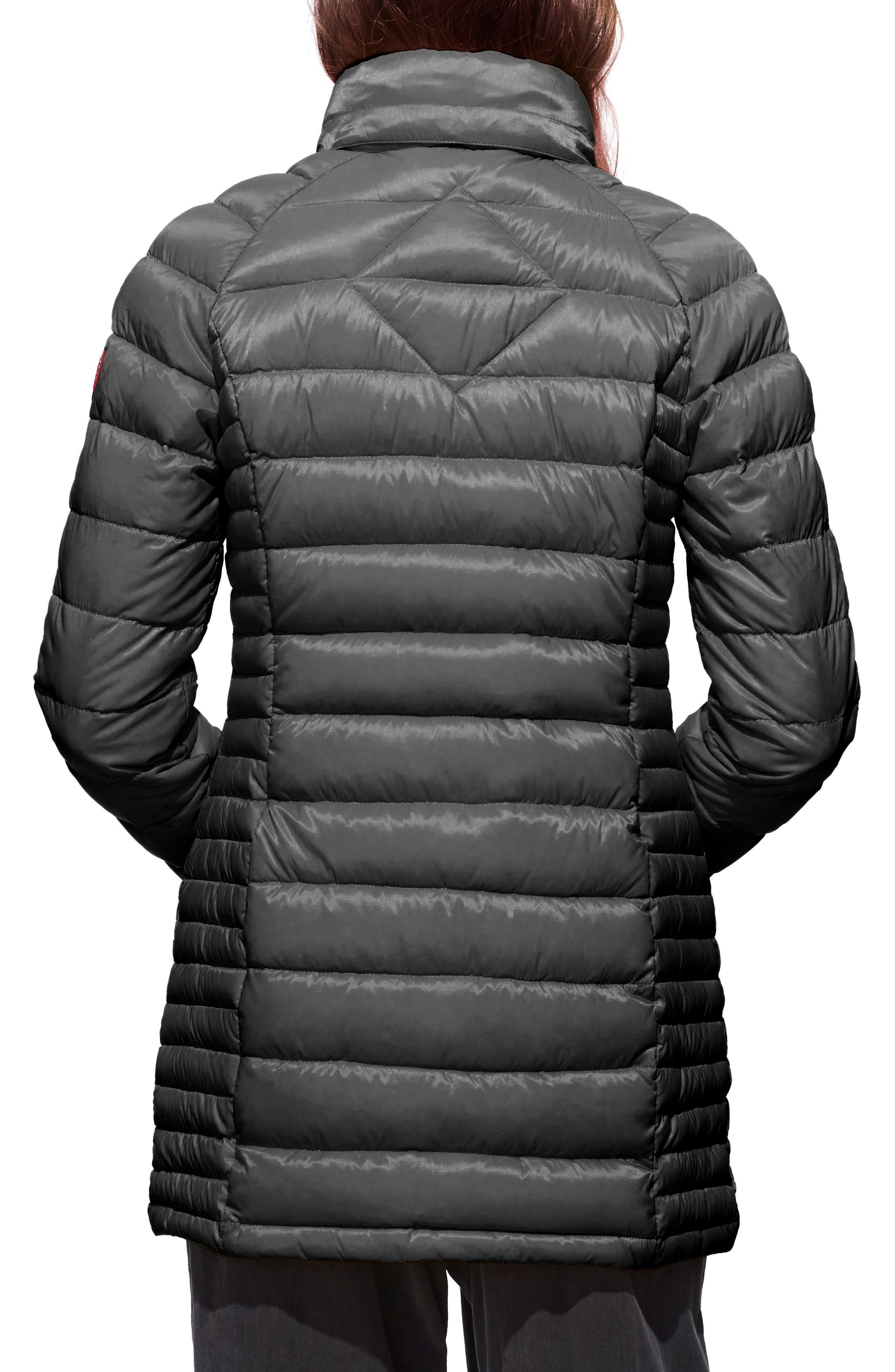 'Brookvale' Hooded Quilted Down Coat,                             Alternate thumbnail 2, color,                             Graphite/ Black