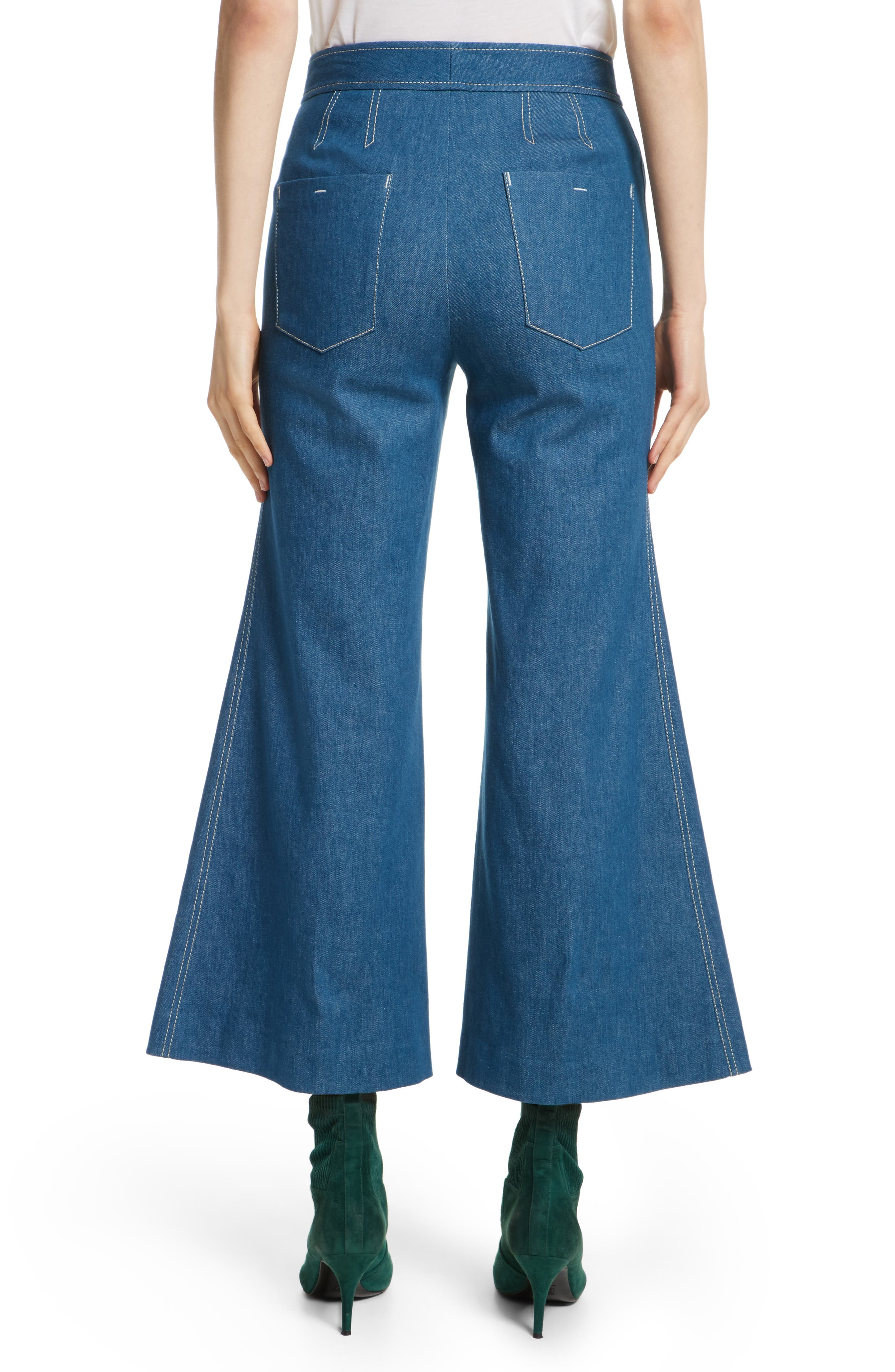 Crop Flare Jeans,                             Alternate thumbnail 2, color,                             Sea Green