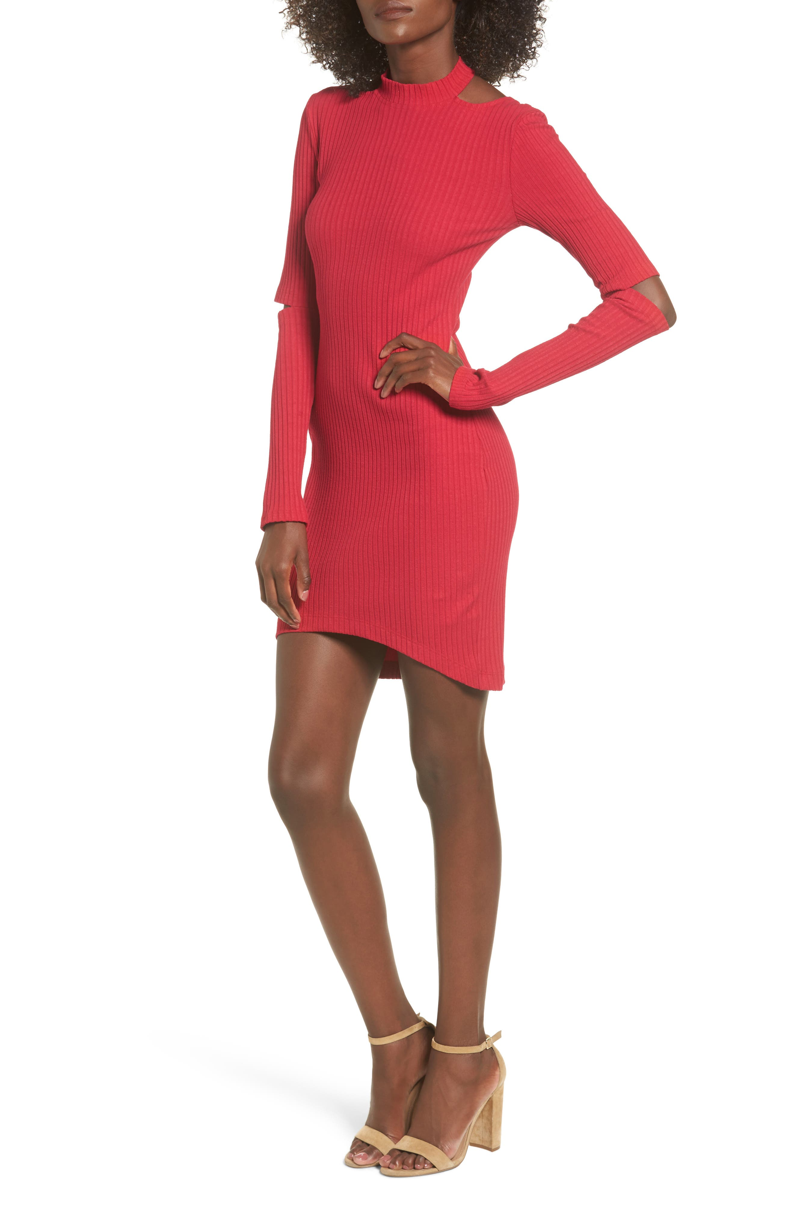 Elbow Cutout Dress,                         Main,                         color, Red
