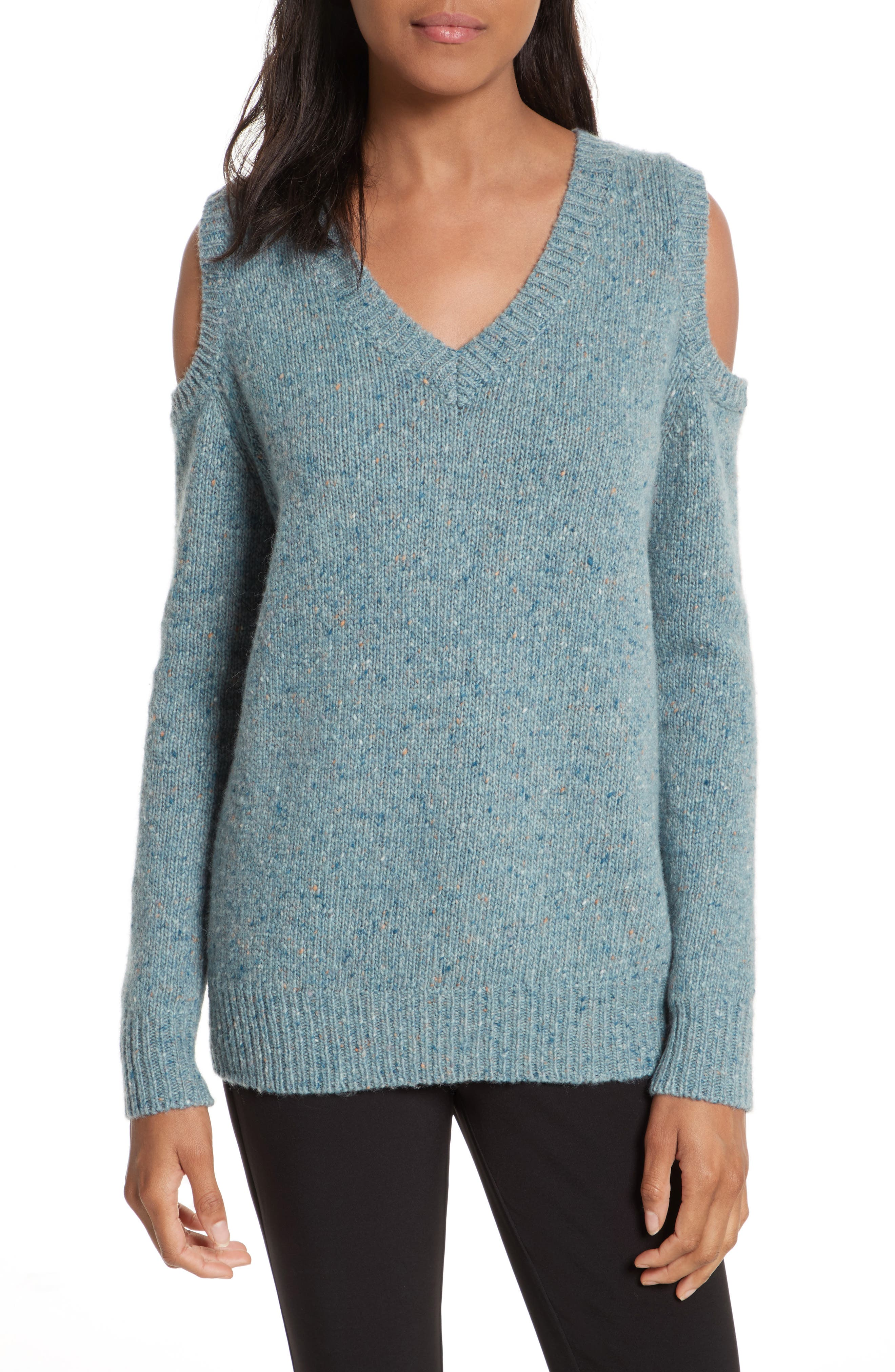 Page Cold Shoulder Sweater,                             Main thumbnail 1, color,                             Seamist