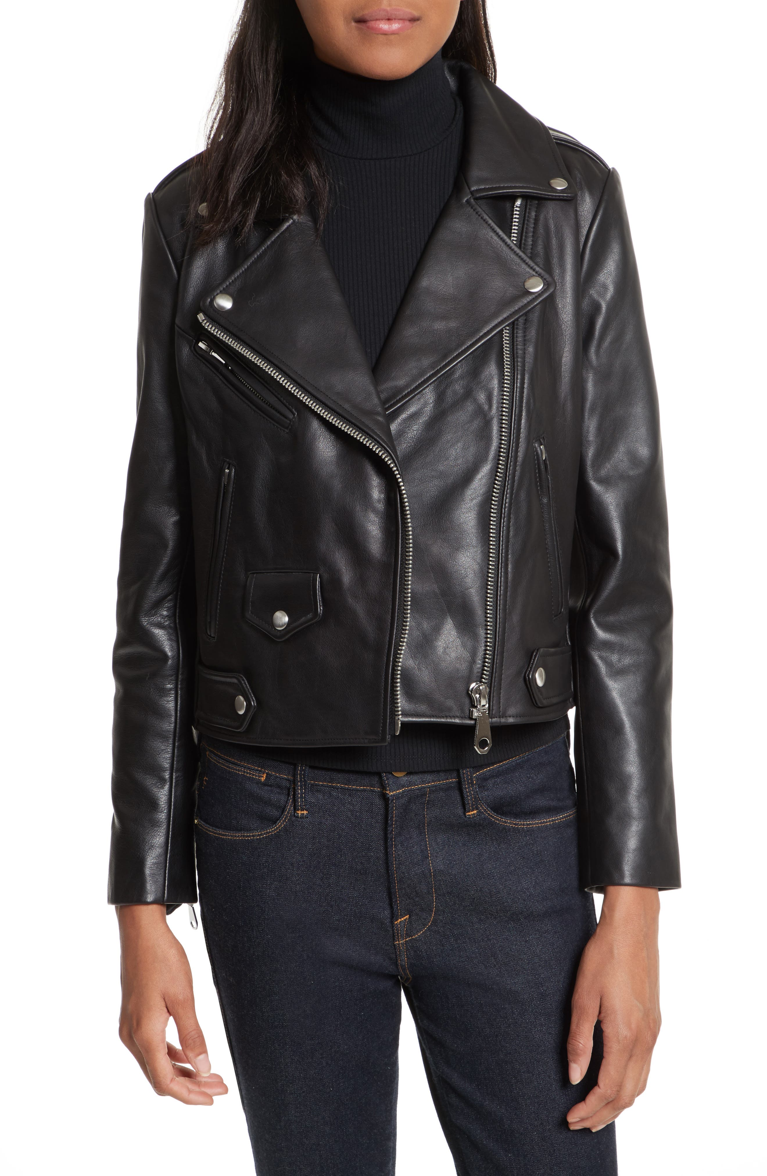 Wes Leather Moto Jacket,                             Main thumbnail 1, color,                             Black