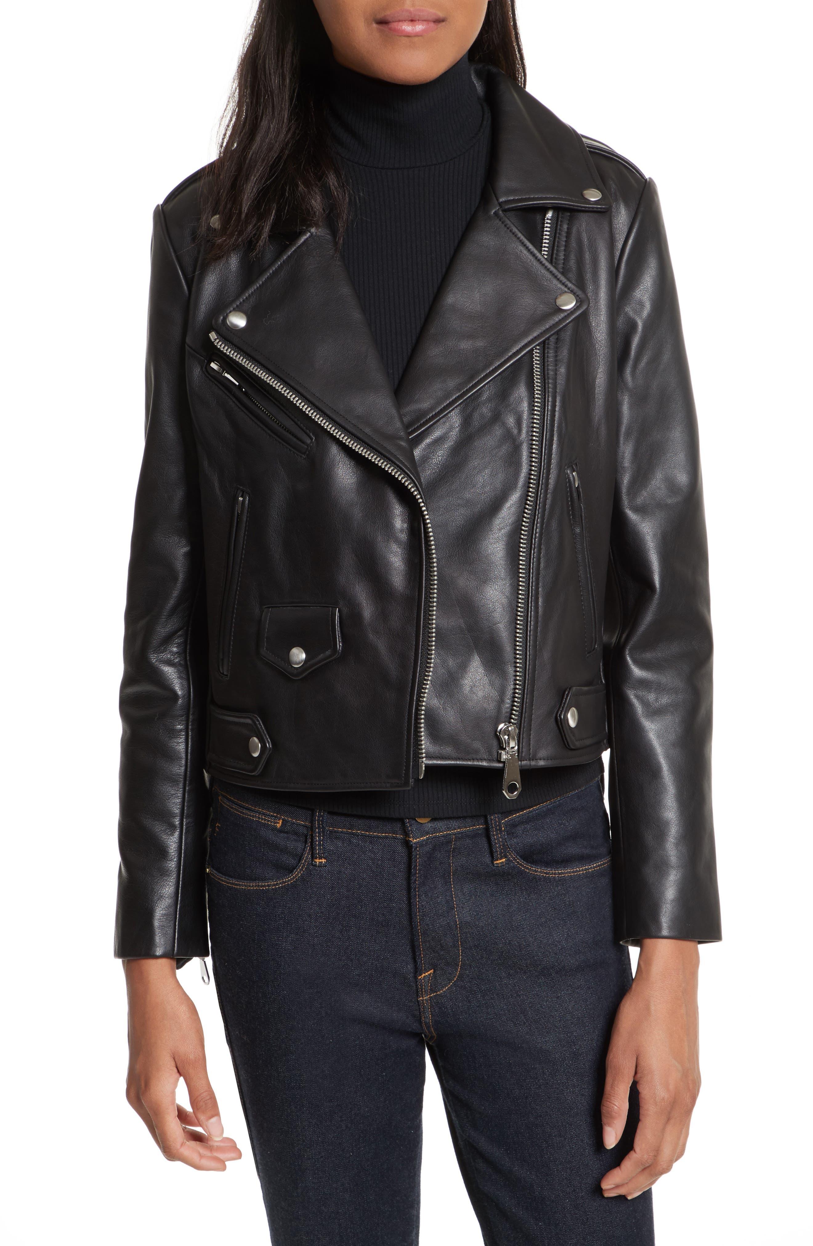 Wes Leather Moto Jacket,                         Main,                         color, Black