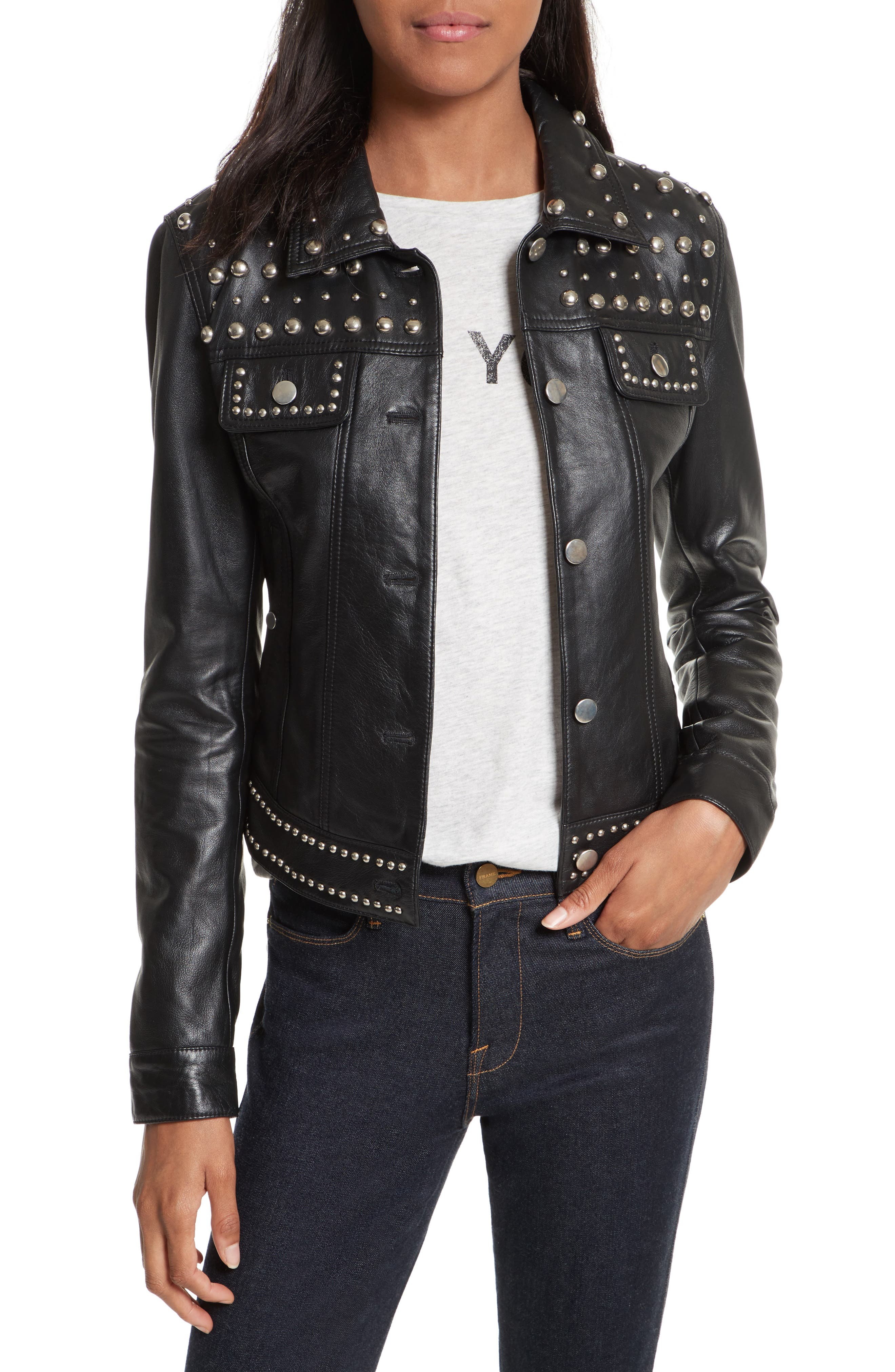 Alternate Image 1 Selected - Rebecca Minkoff Annatto Leather Jacket