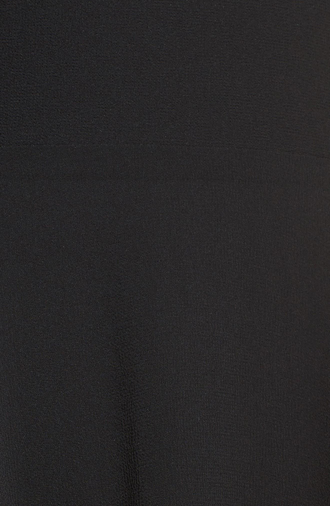 Lace Trim Chiffon Maxi Dress,                             Alternate thumbnail 5, color,                             Black