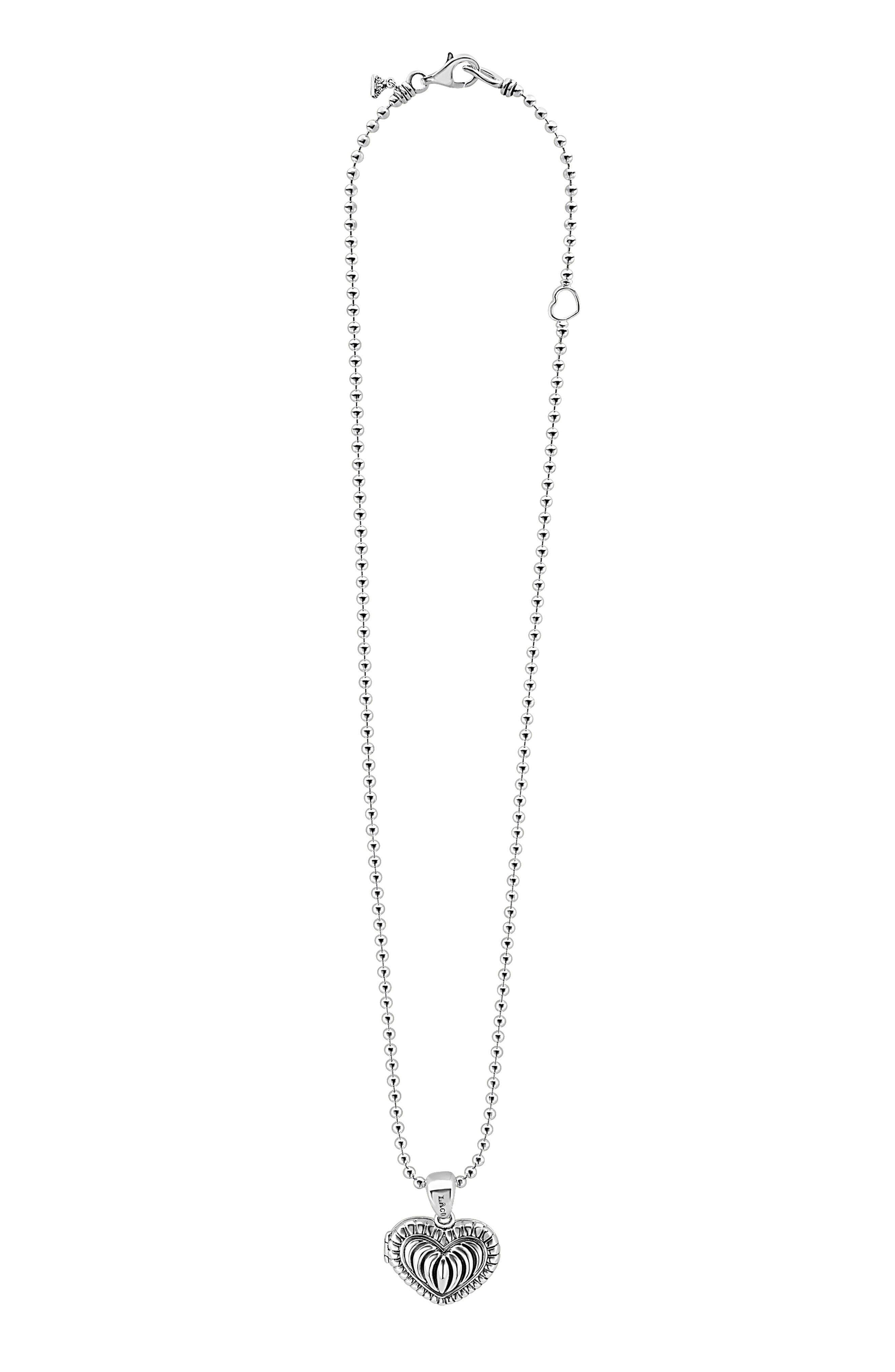 Beloved Fluted Heart Locket Necklace,                         Main,                         color, Silver