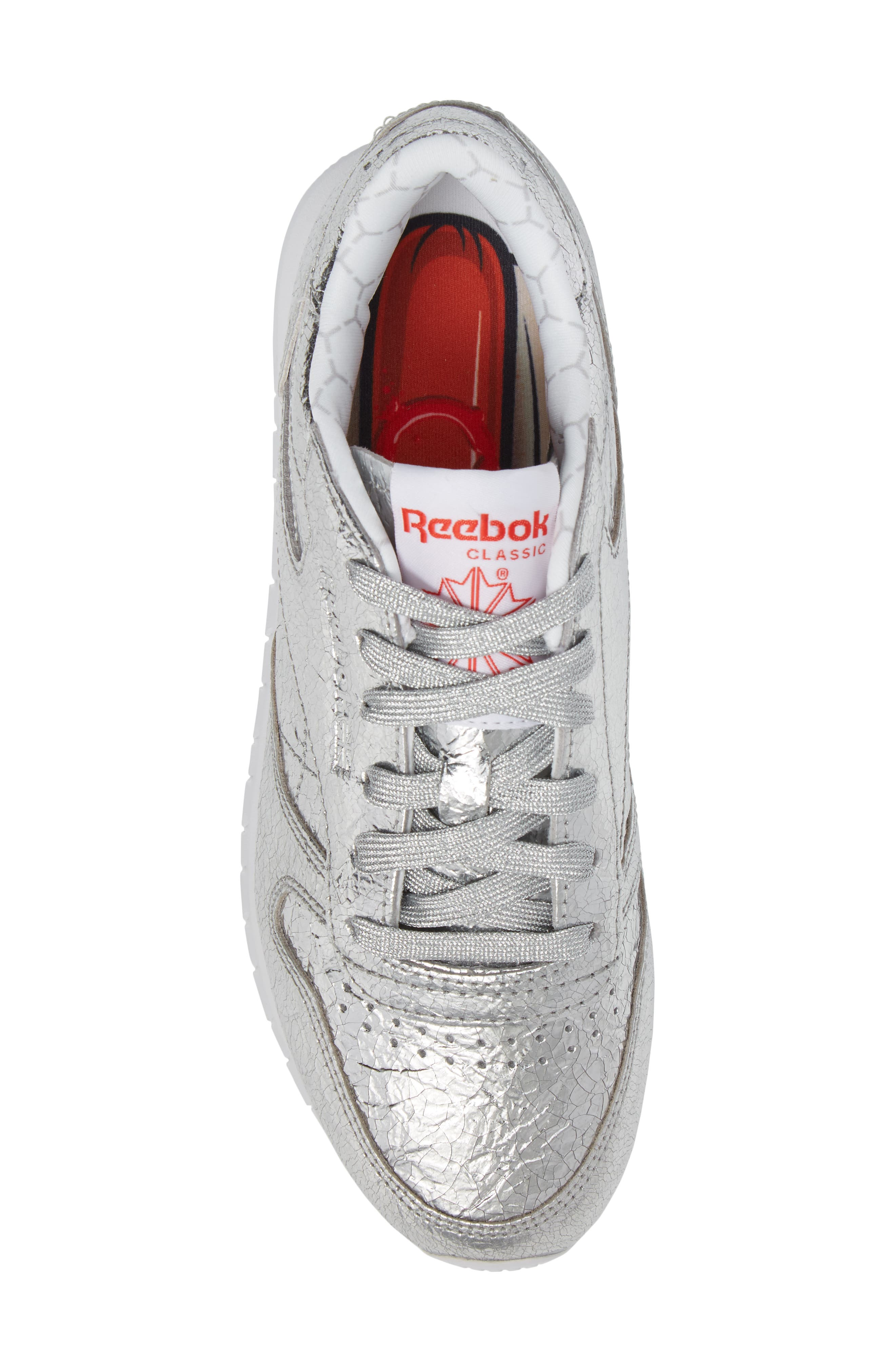 Classic Leather HD Foil Sneaker,                             Alternate thumbnail 5, color,                             Silver/ Grey/ Red/ White