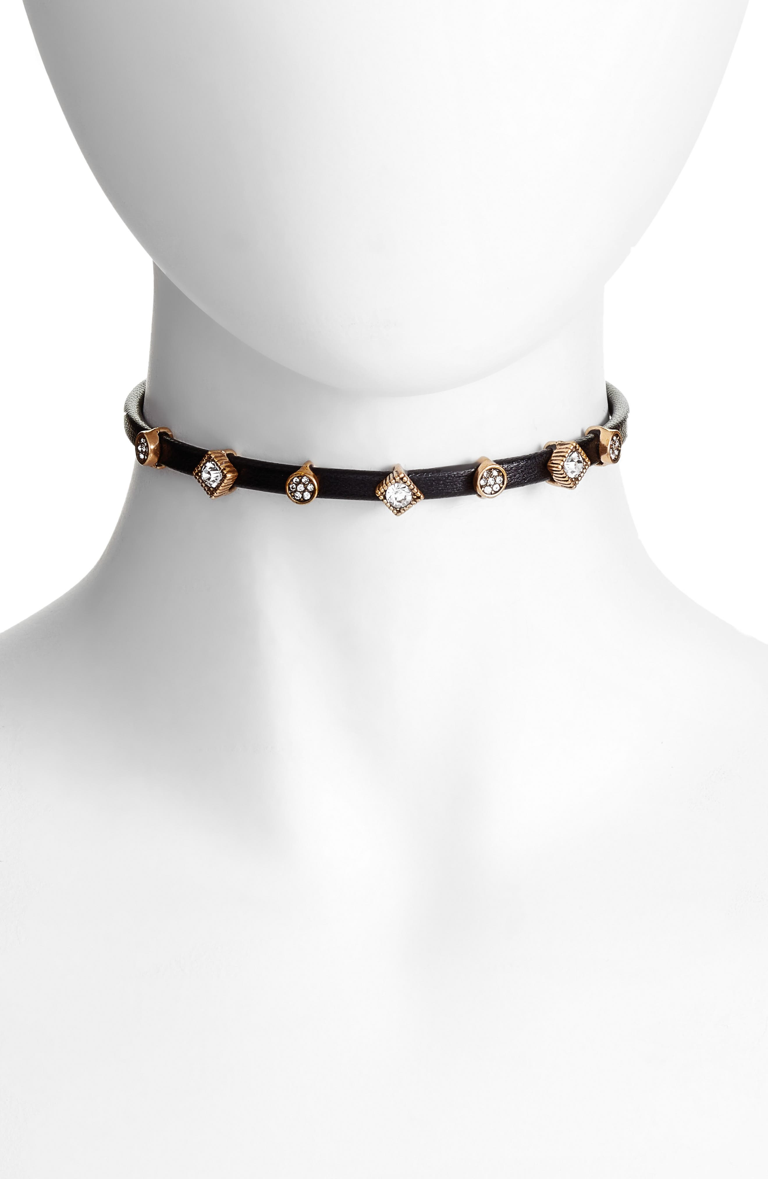 Leather Choker,                         Main,                         color, Clear- Gold- Black