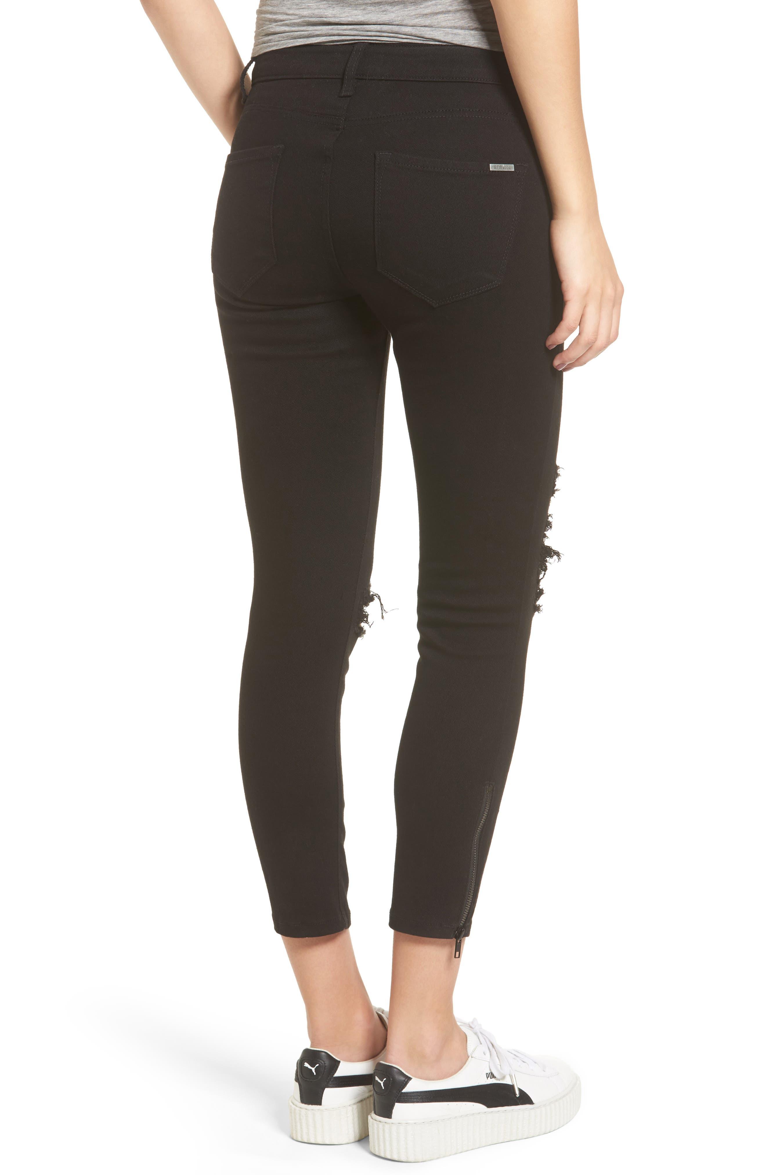 Emma Side Zip Skinny Jeans,                             Alternate thumbnail 2, color,                             Black