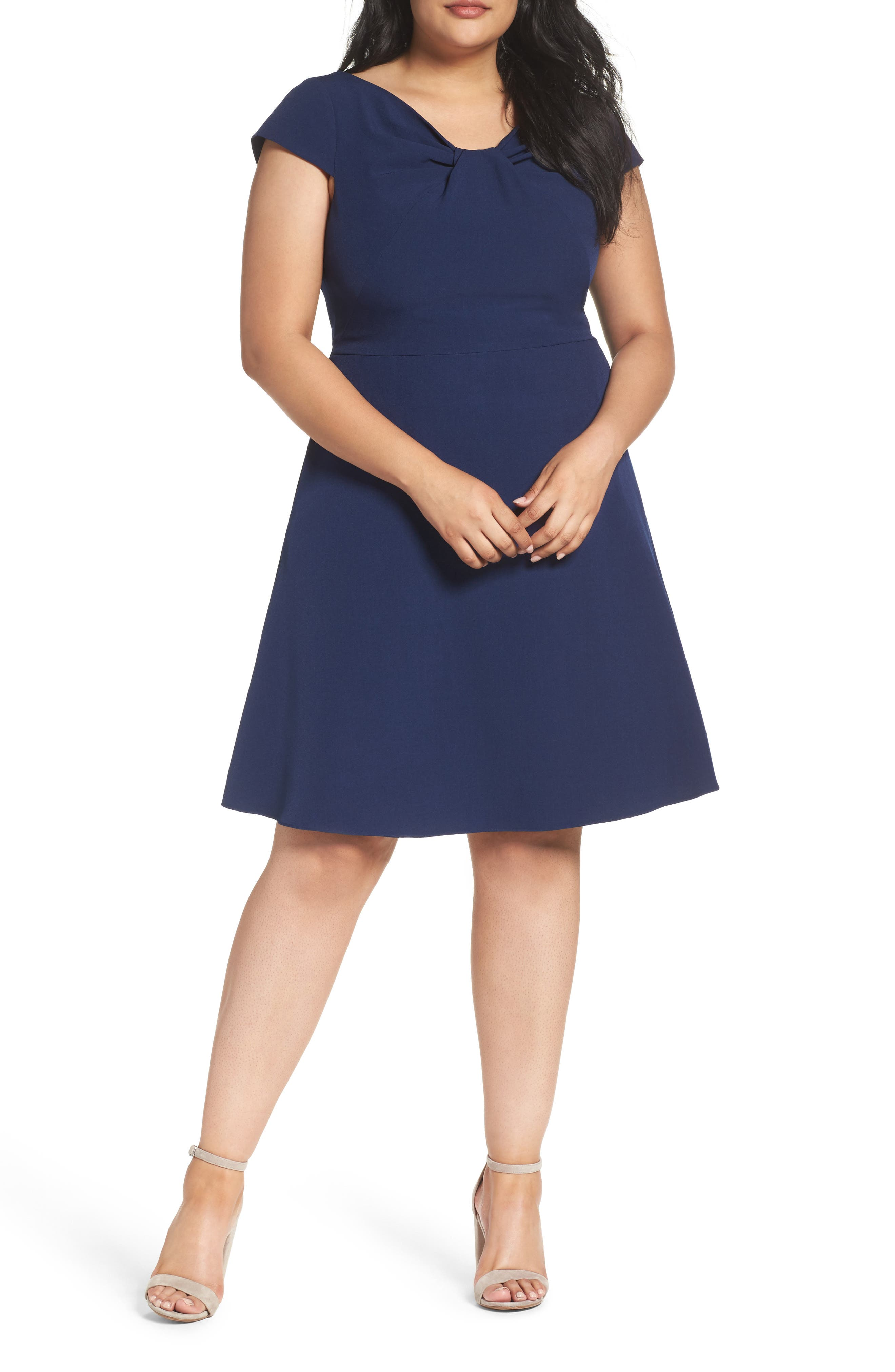 Drape Neck Fit & Flare Dress,                         Main,                         color, Navy Sateen