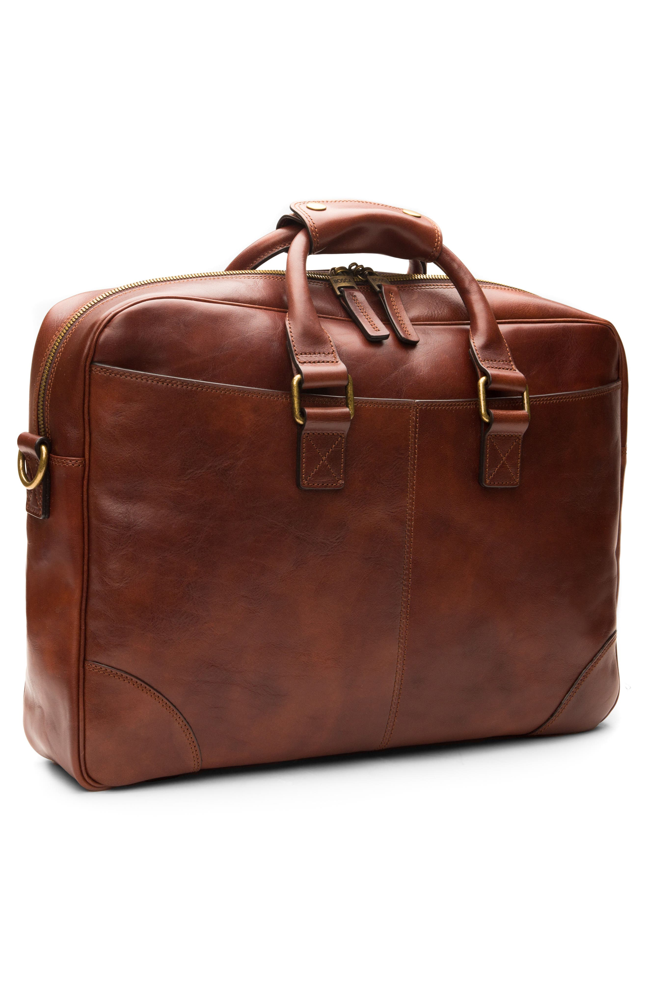 Leather Briefcase,                             Alternate thumbnail 4, color,                             Dark Brown