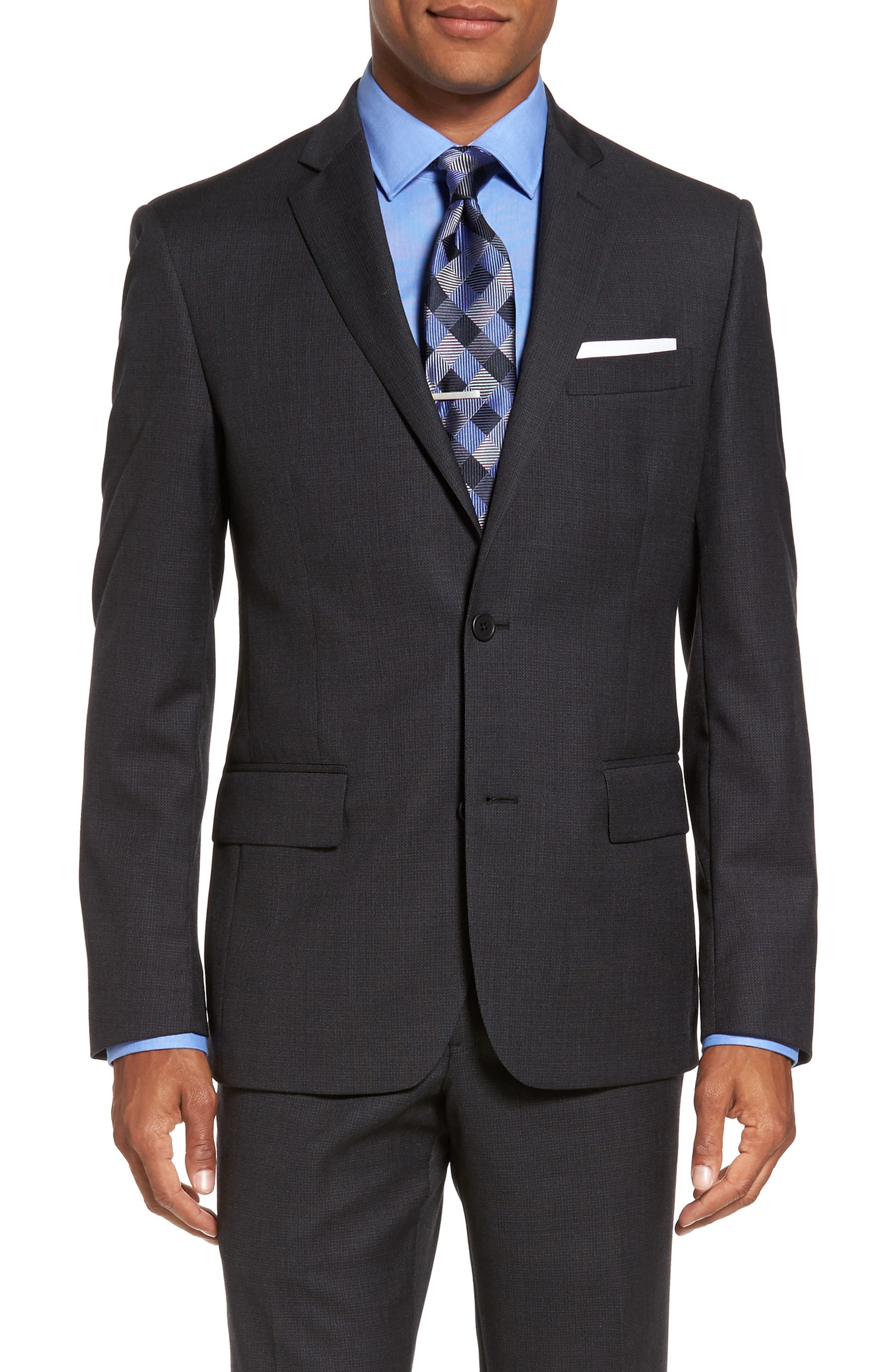 Classic Fit Solid Wool Suit,                             Alternate thumbnail 5, color,                             Charcoal